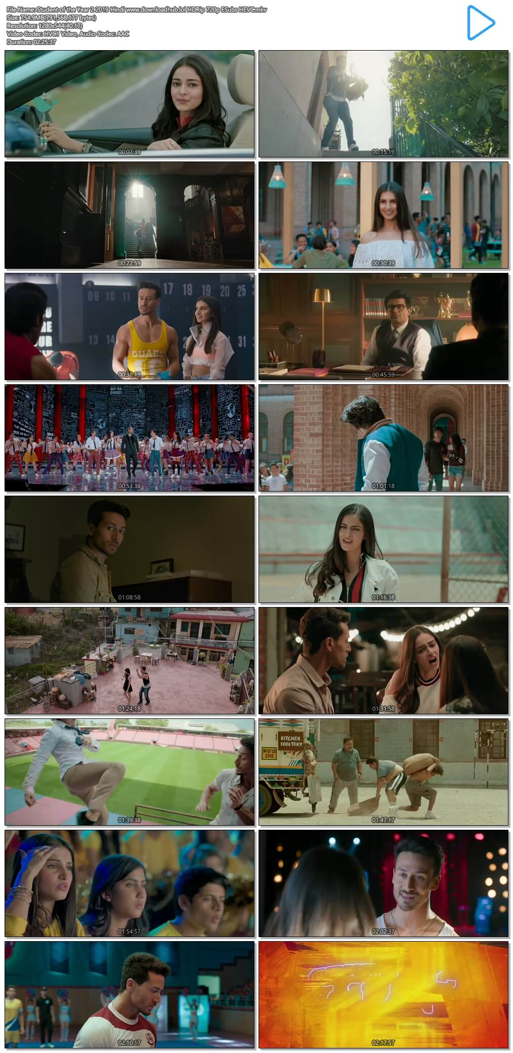 Student of the Year 2 2019 Hindi 750MB HDRip 720p ESubs HEVC