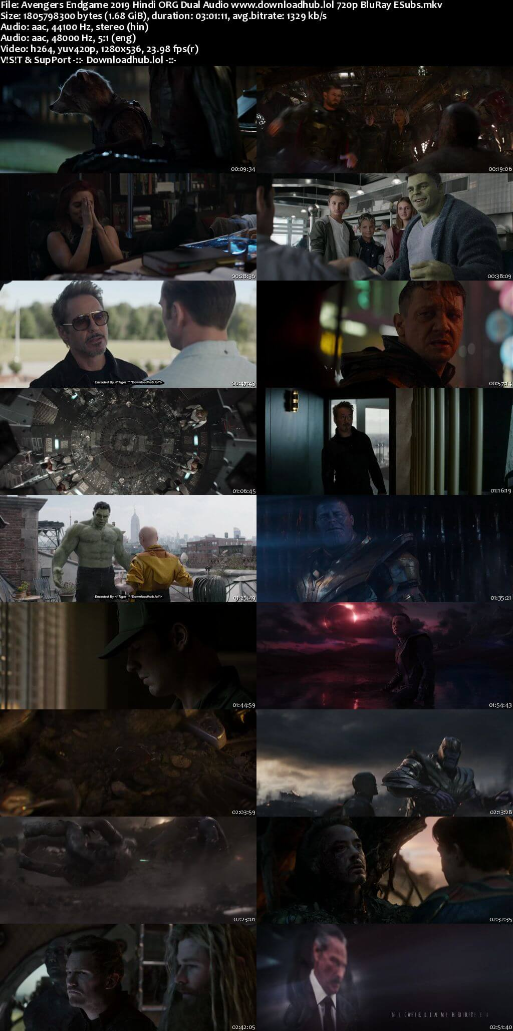 Avengers Endgame 2019 Hindi ORG Dual Audio 720p BluRay ESubs
