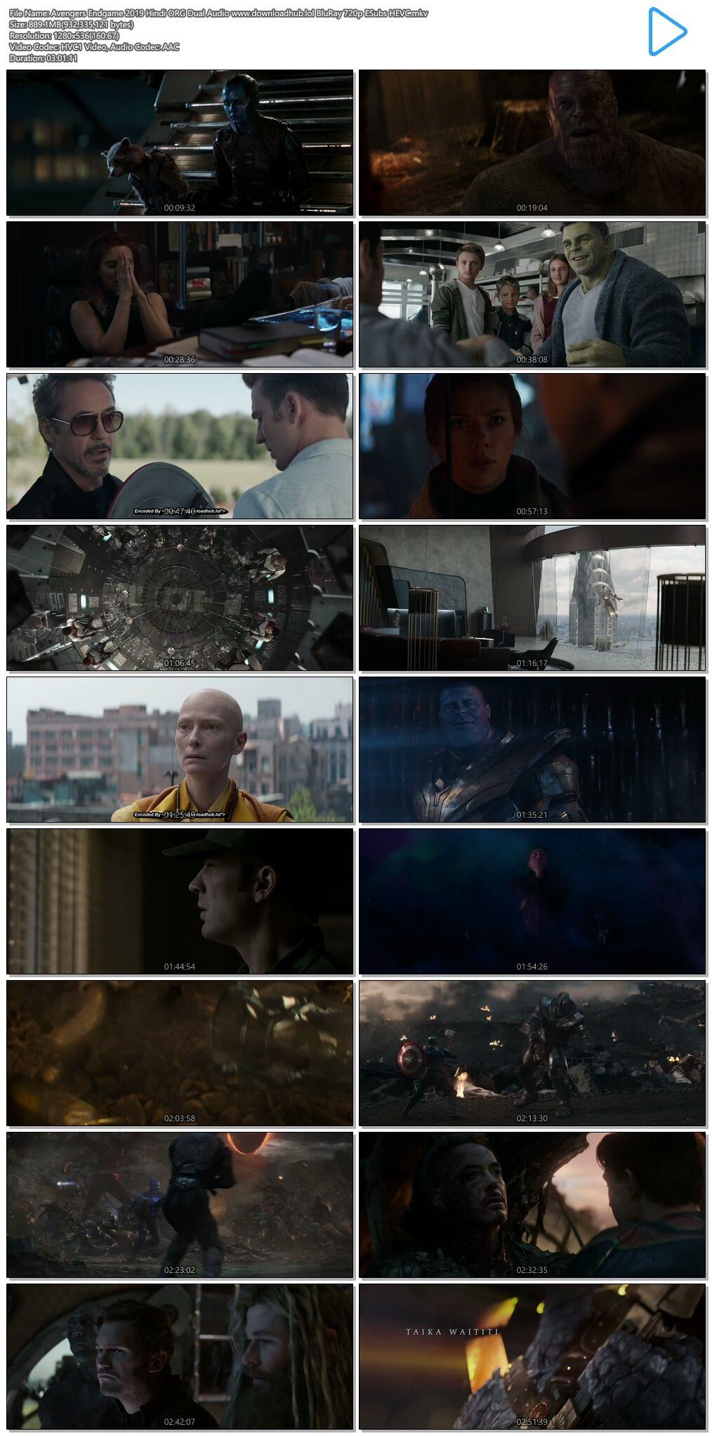 Avengers Endgame 2019 Hindi ORG Dual Audio 850MB BluRay 720p ESubs HEVC