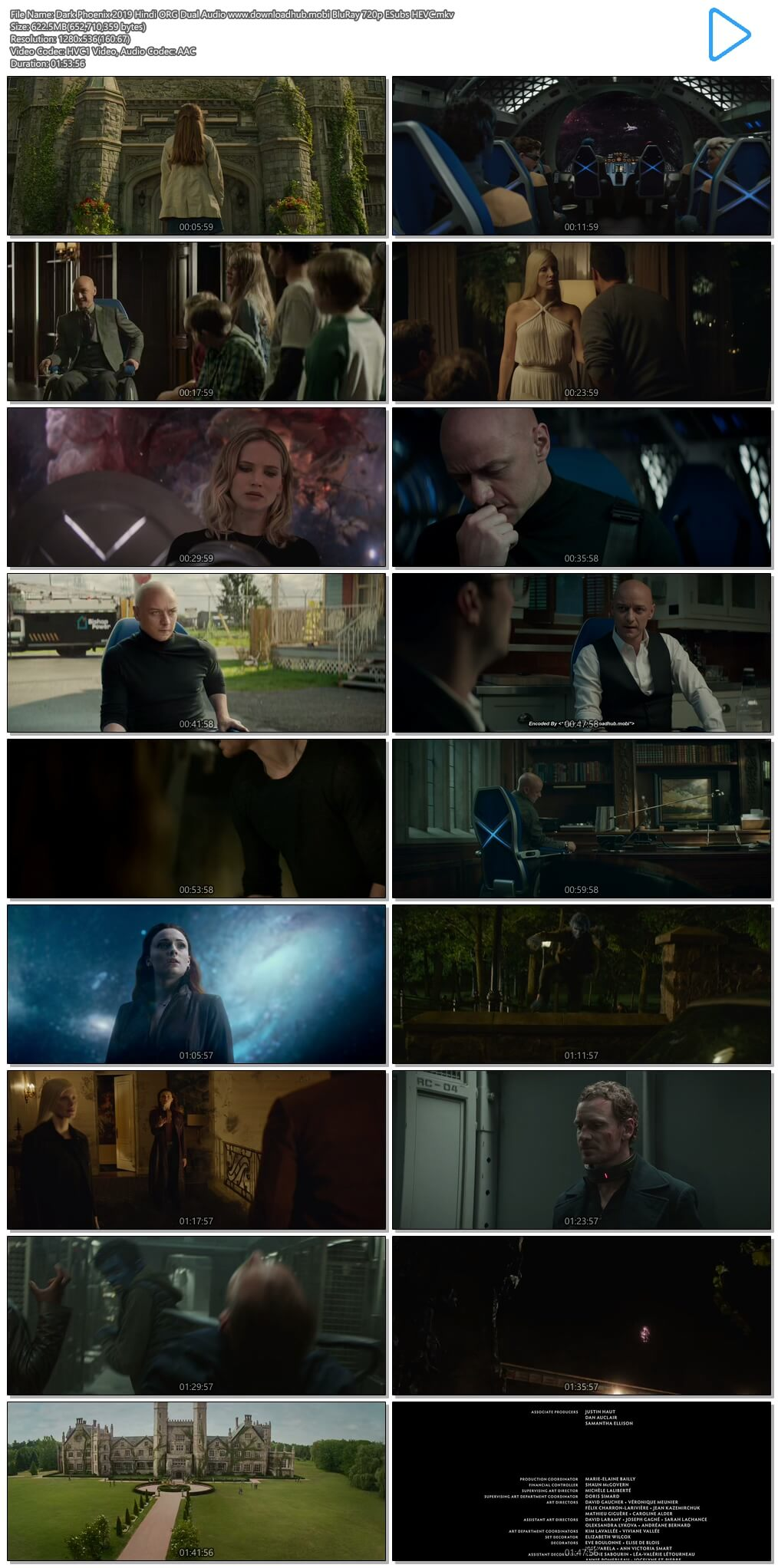 Dark Phoenix 2019 Hindi ORG Dual Audio 600MB BluRay 720p ESubs HEVC
