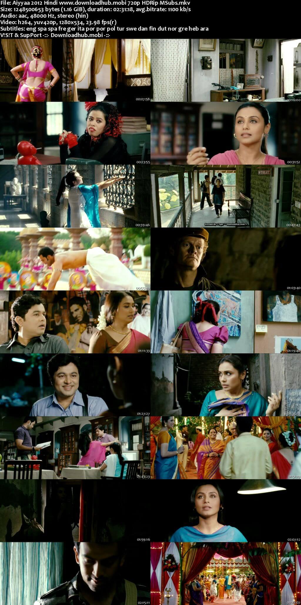 Aiyyaa 2012 Hindi 720p HDRip MSubs