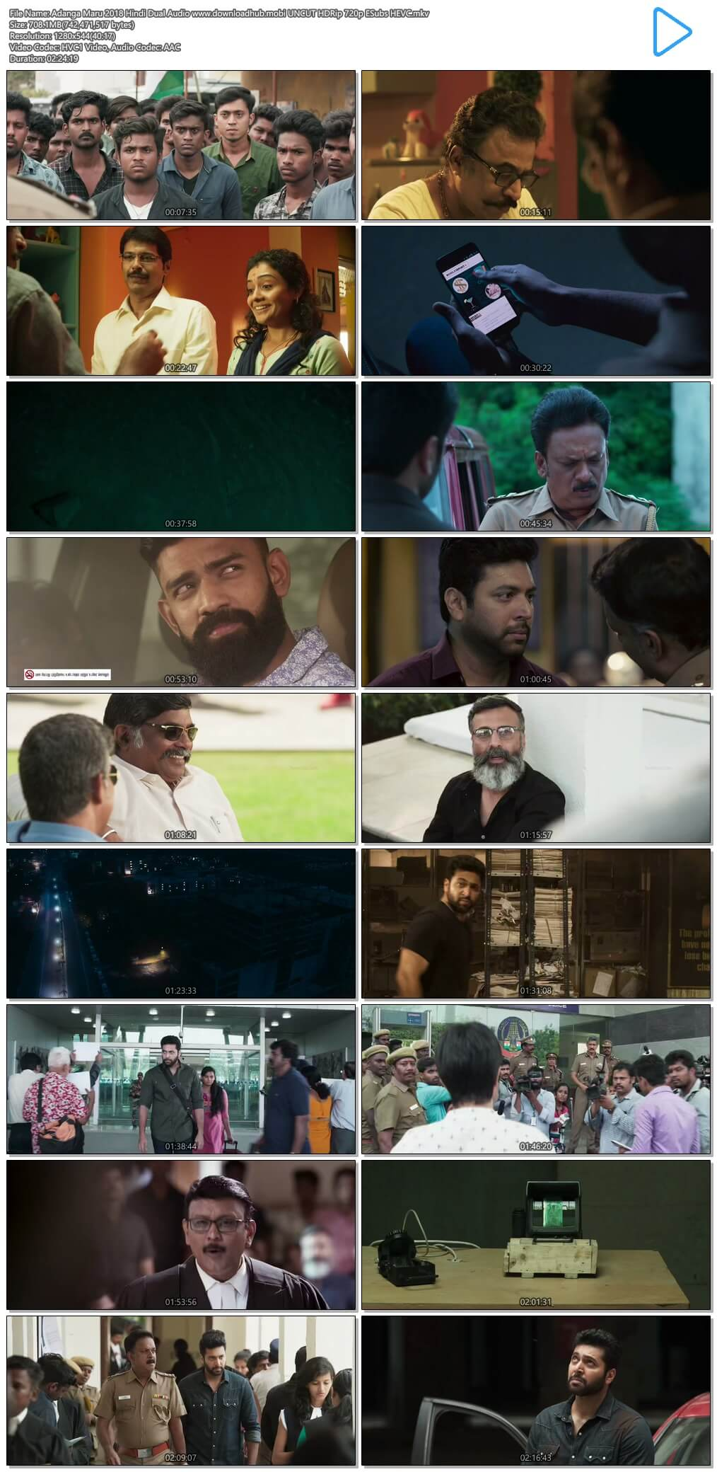Adanga Maru 2018 Hindi Dual Audio 700MB UNCUT HDRip 720p ESubs HEVC