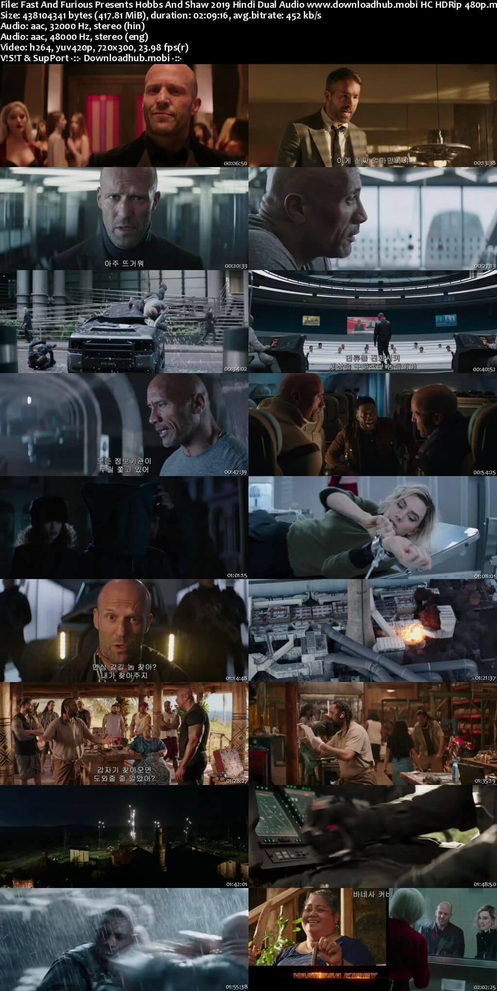 Fast And Furious Presents Hobbs And Shaw 2019 Hindi Dual Audio 400MB HC HDRip 480p