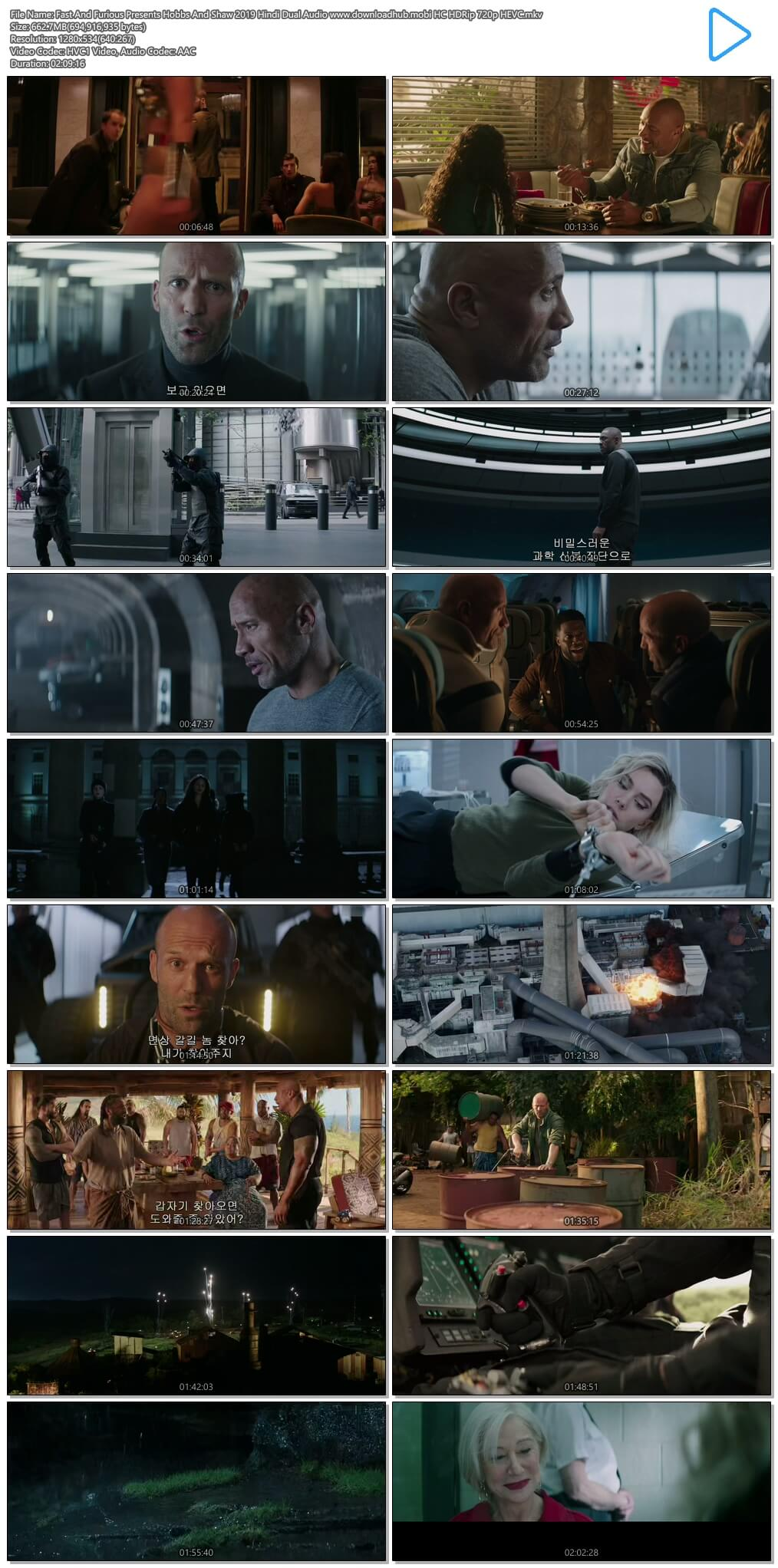 Fast And Furious Presents Hobbs And Shaw 2019 Hindi Dual Audio 650MB HC HDRip 720p HEVC