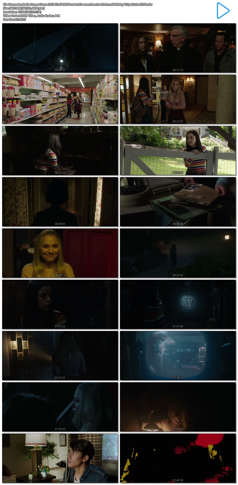 Annabelle Comes Home 2019 Hindi ORG Dual Audio 500MB BluRay 720p ESubs HEVC
