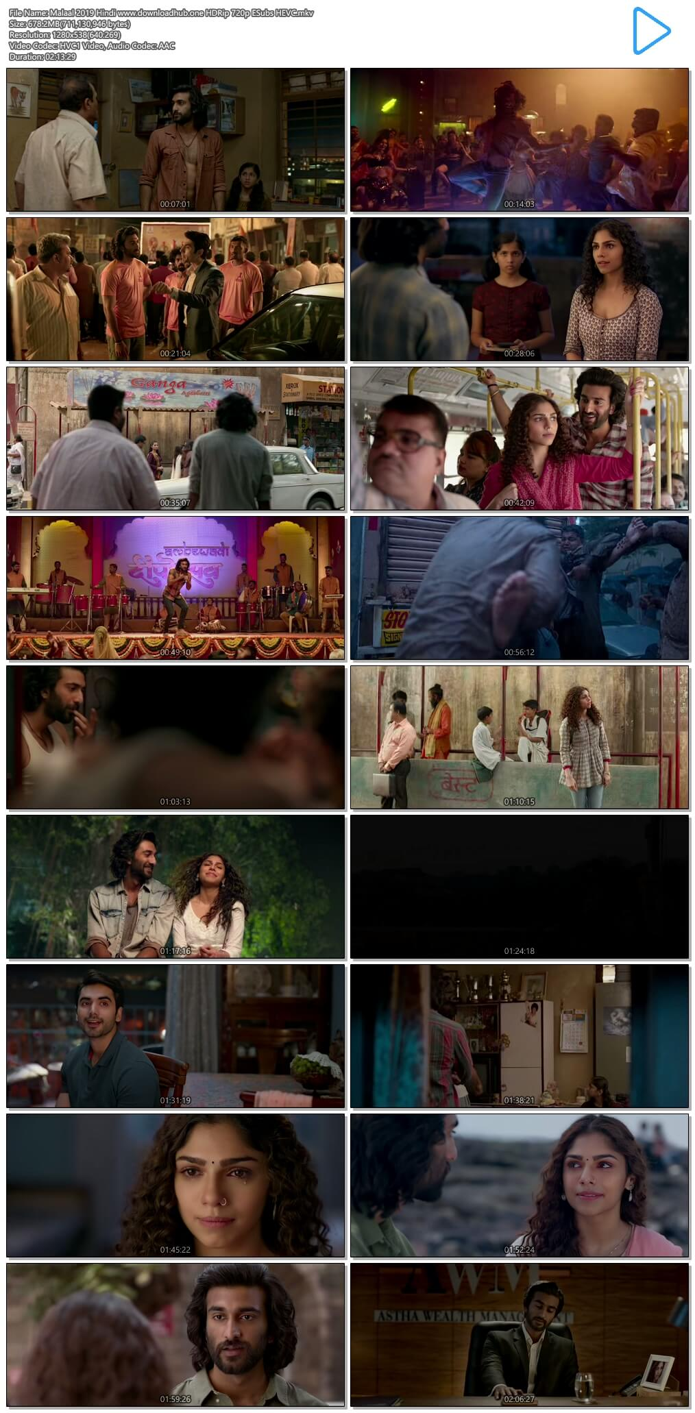 Malaal 2019 Hindi 650MB HDRip 720p ESubs HEVC