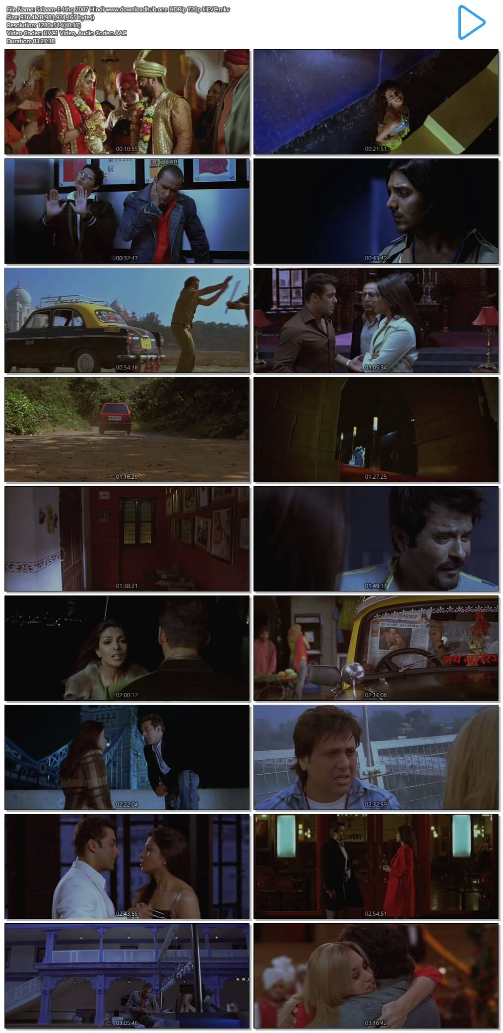 Salaam-E-Ishq 2007 Hindi 900MB HDRip 720p HEVC