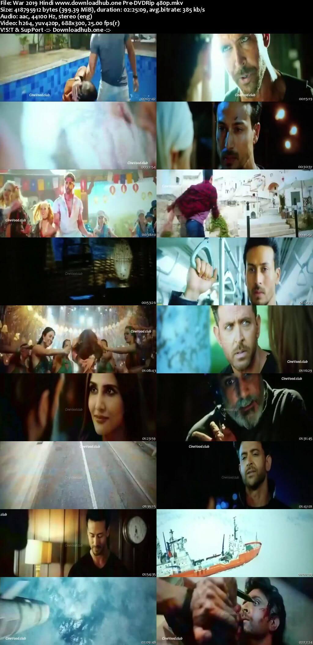 War 2019 Hindi 400MB Pre-DVDRip 480p