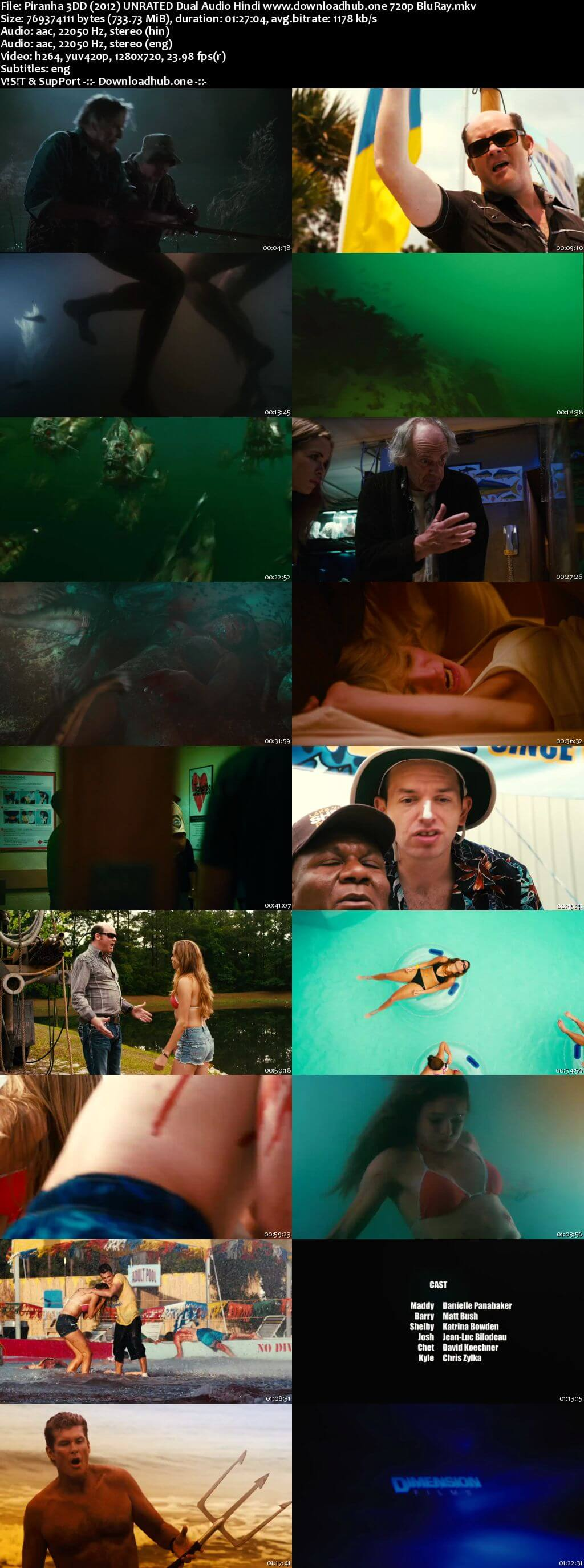 Piranha 3DD 2012 Hindi Dual Audio 720p UNRATED BluRay ESubs