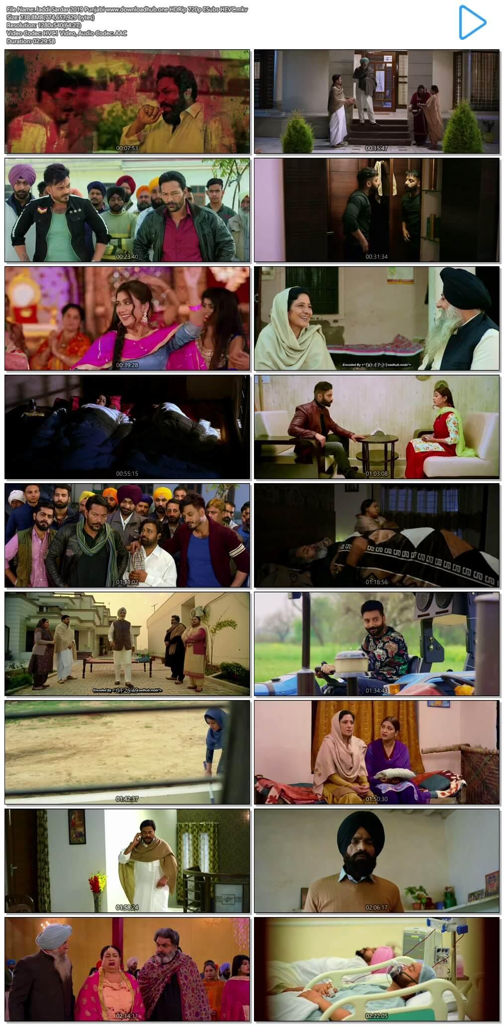 Jaddi Sardar 2019 Punjabi 700MB HDRip 720p ESubs HEVC
