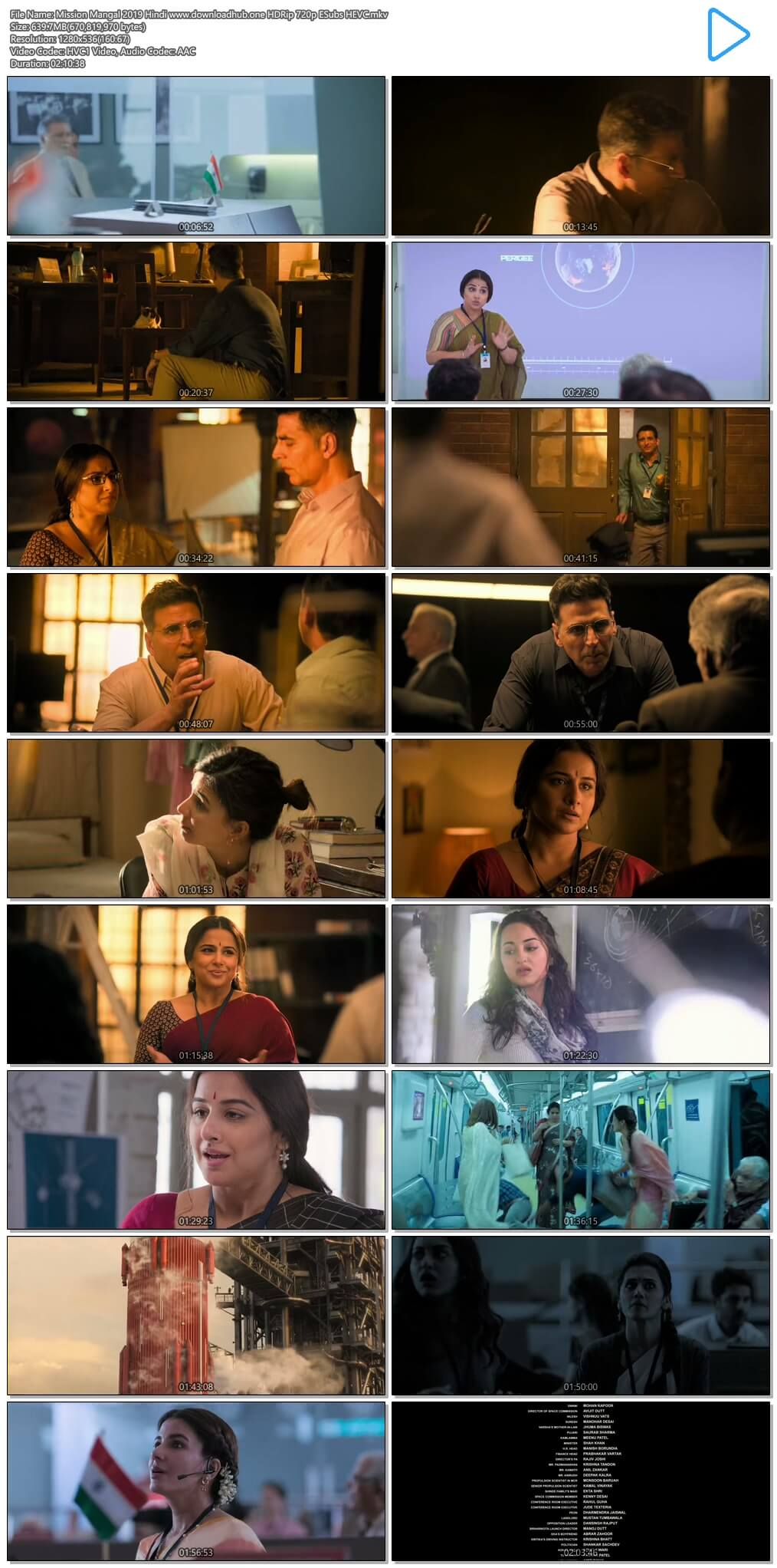 Mission Mangal 2019 Hindi 600MB HDRip 720p ESubs HEVC