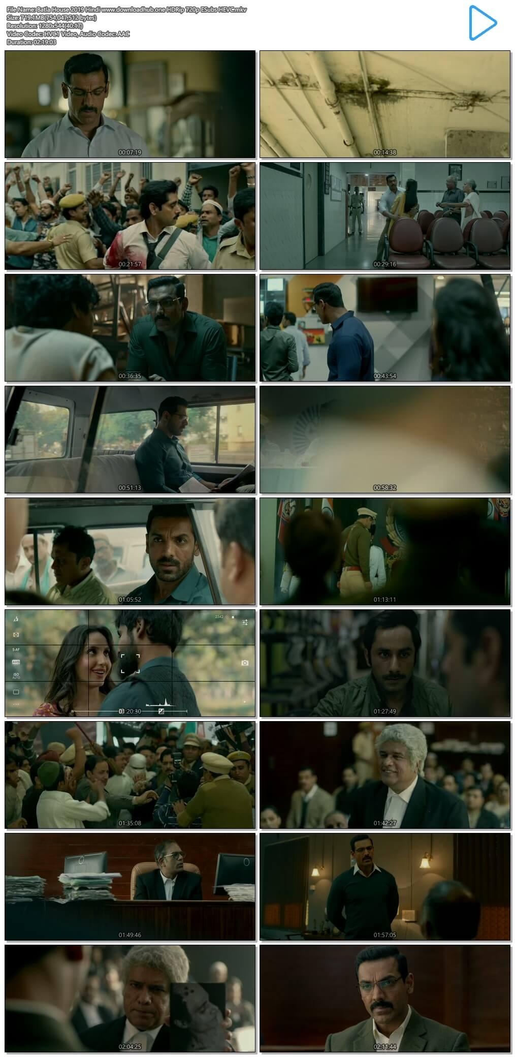 Batla House 2019 Hindi 700MB HDRip 720p ESubs HEVC