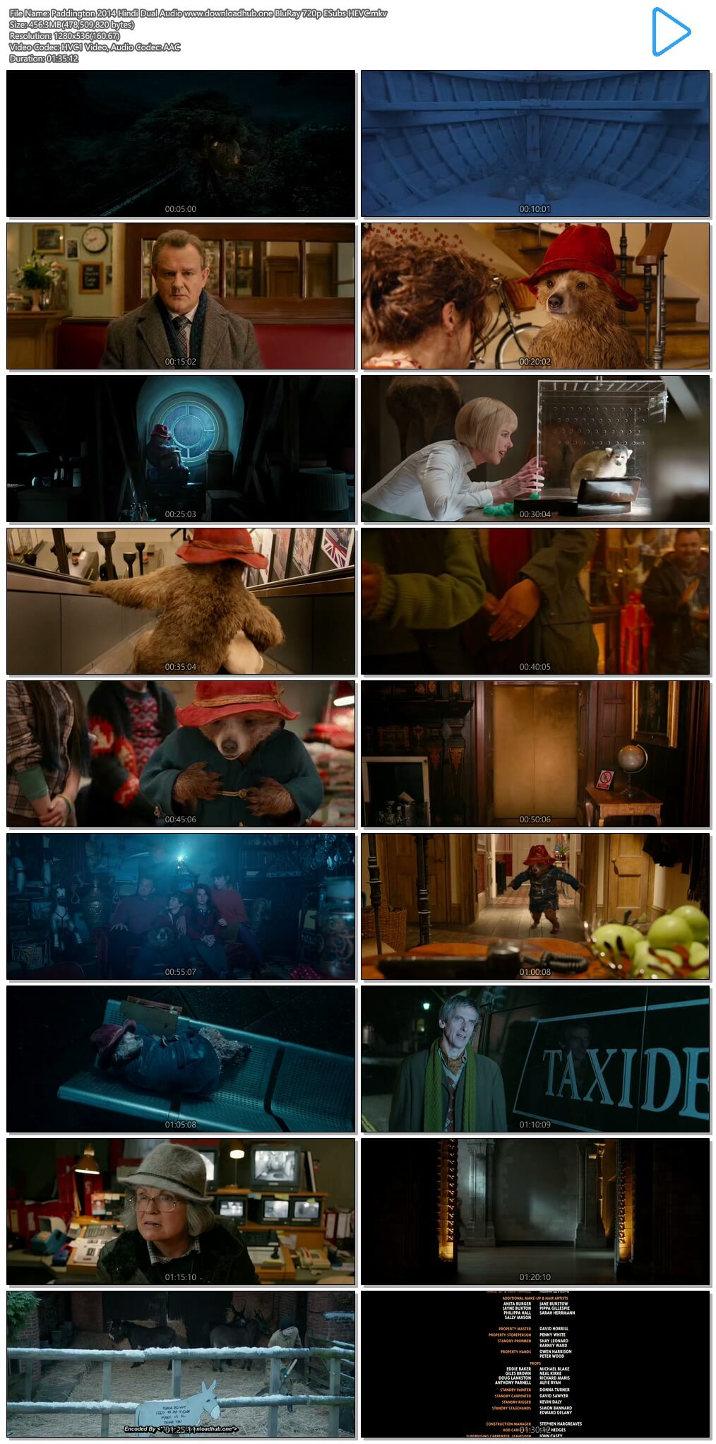 Paddington 2014 Hindi Dual Audio 450MB BluRay 720p ESubs HEVC