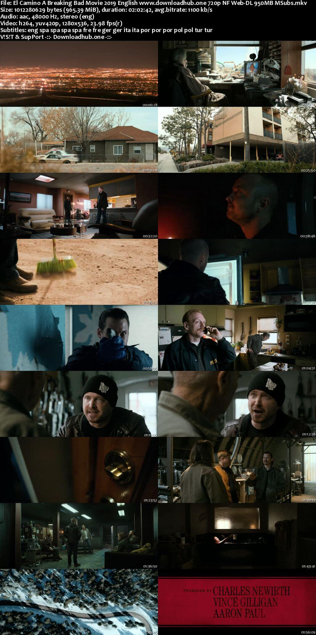 El Camino A Breaking Bad Movie 2019 English 720p NF Web-DL 950MB MSubs