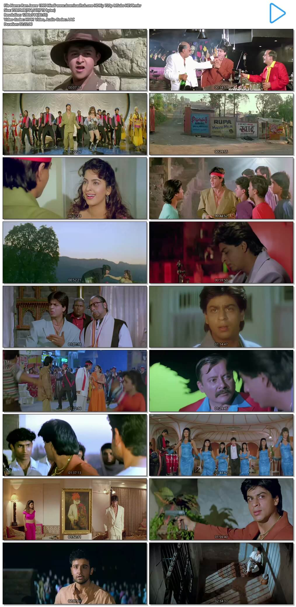 Ram Jaane 1995 Hindi 700MB HDRip 720p MSubs HEVC