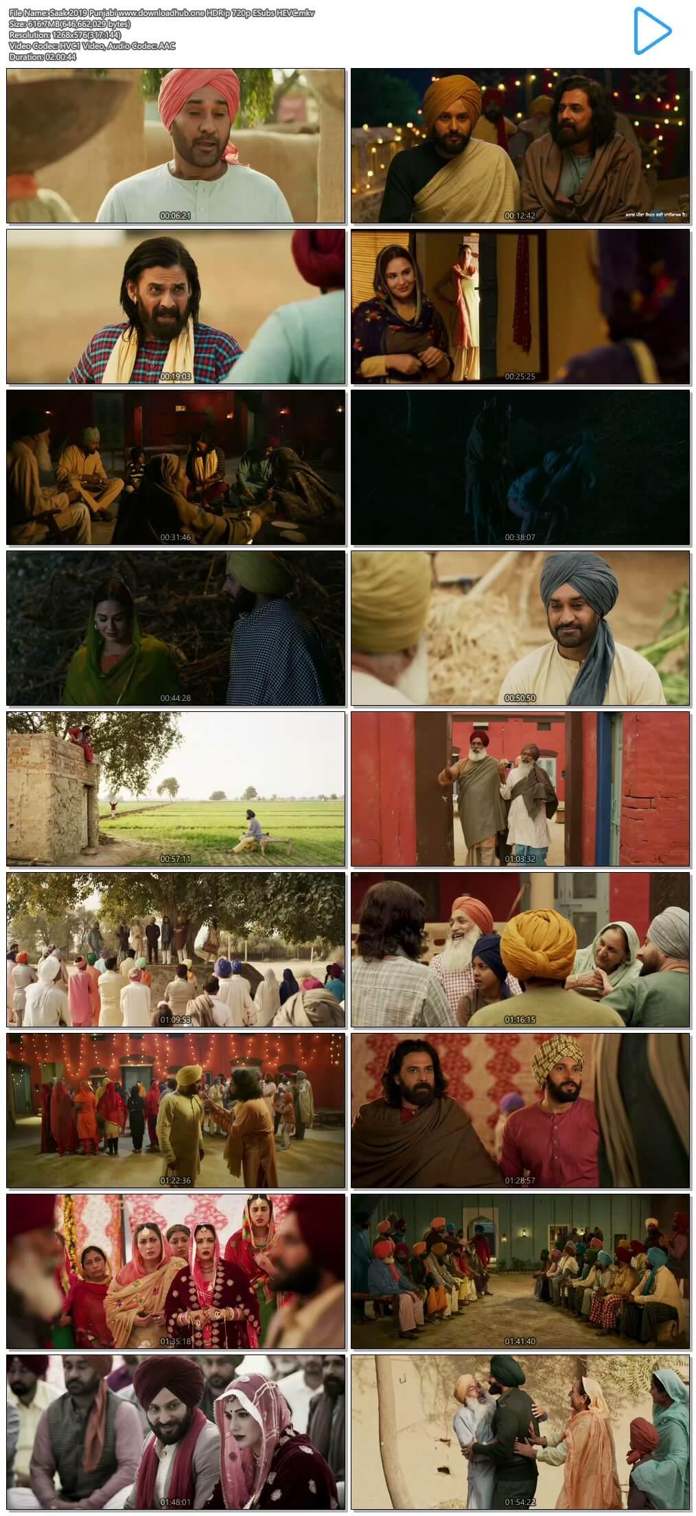 Saak 2019 Punjabi 600MB HDRip 720p ESubs HEVC