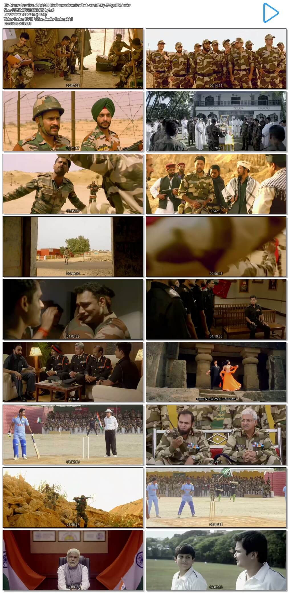 Battalion 609 2019 Hindi 650MB HDRip 720p HEVC