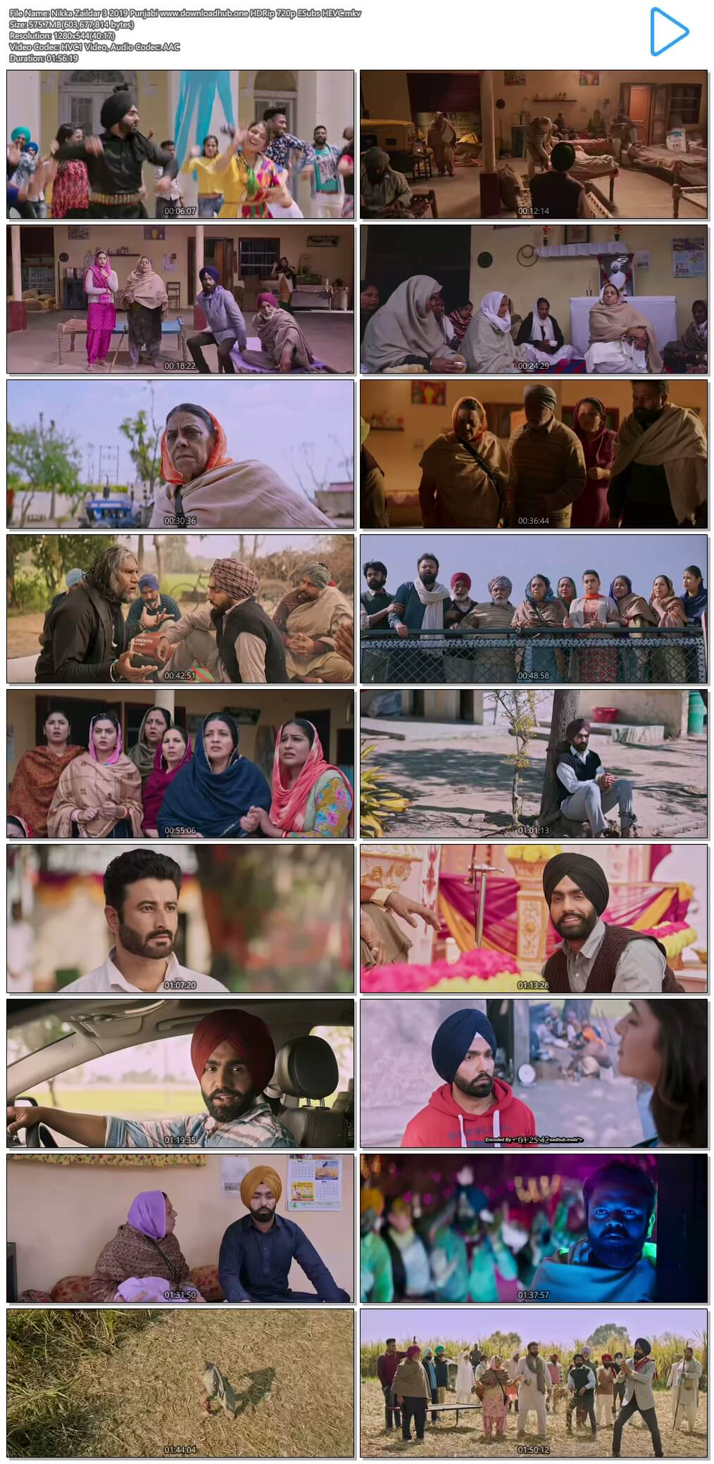 Nikka Zaildar 3 2019 Punjabi 550MB HDRip 720p ESubs HEVC