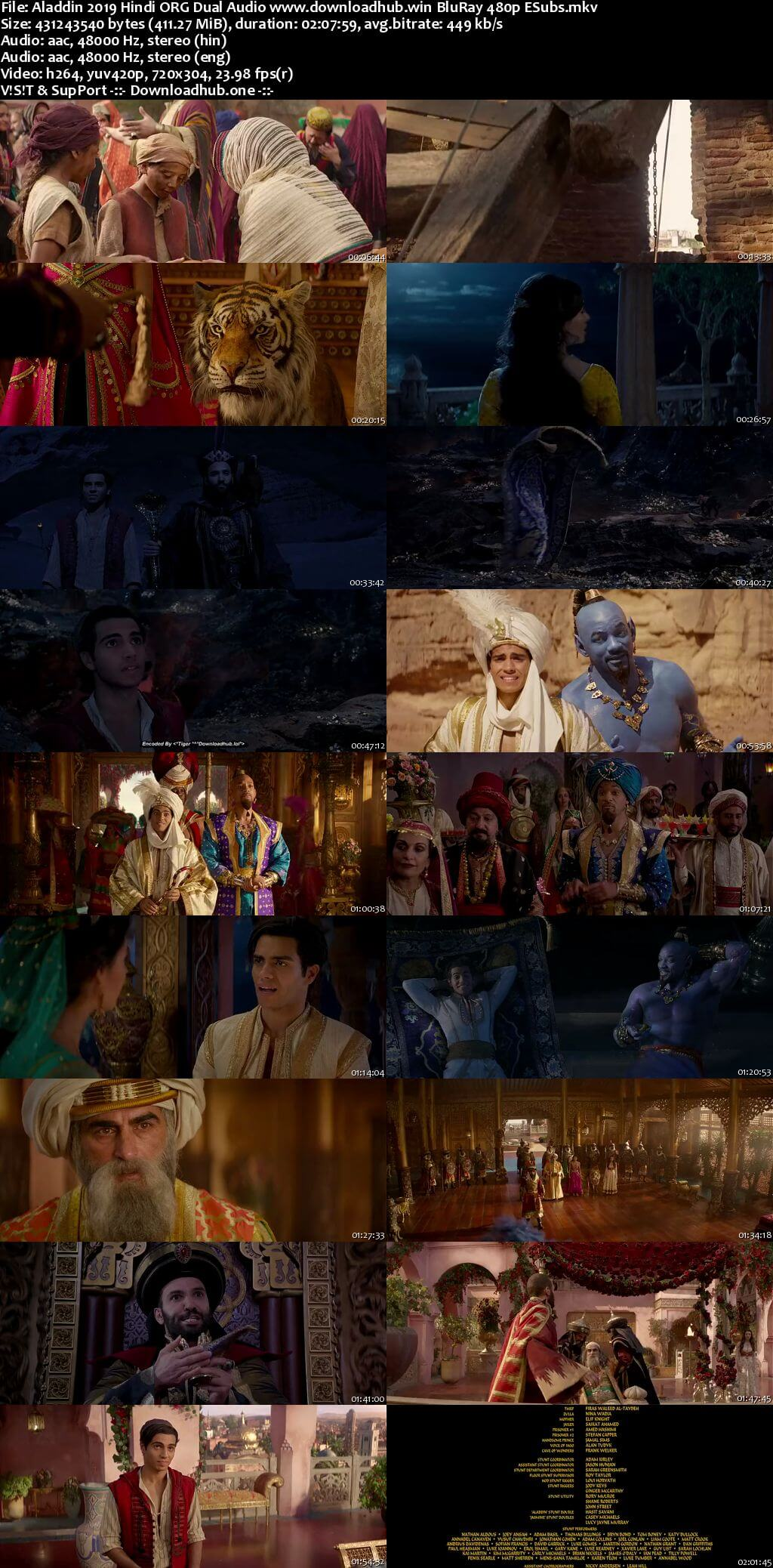 Aladdin 2019 Hindi ORG Dual Audio 400MB BluRay 480p ESubs