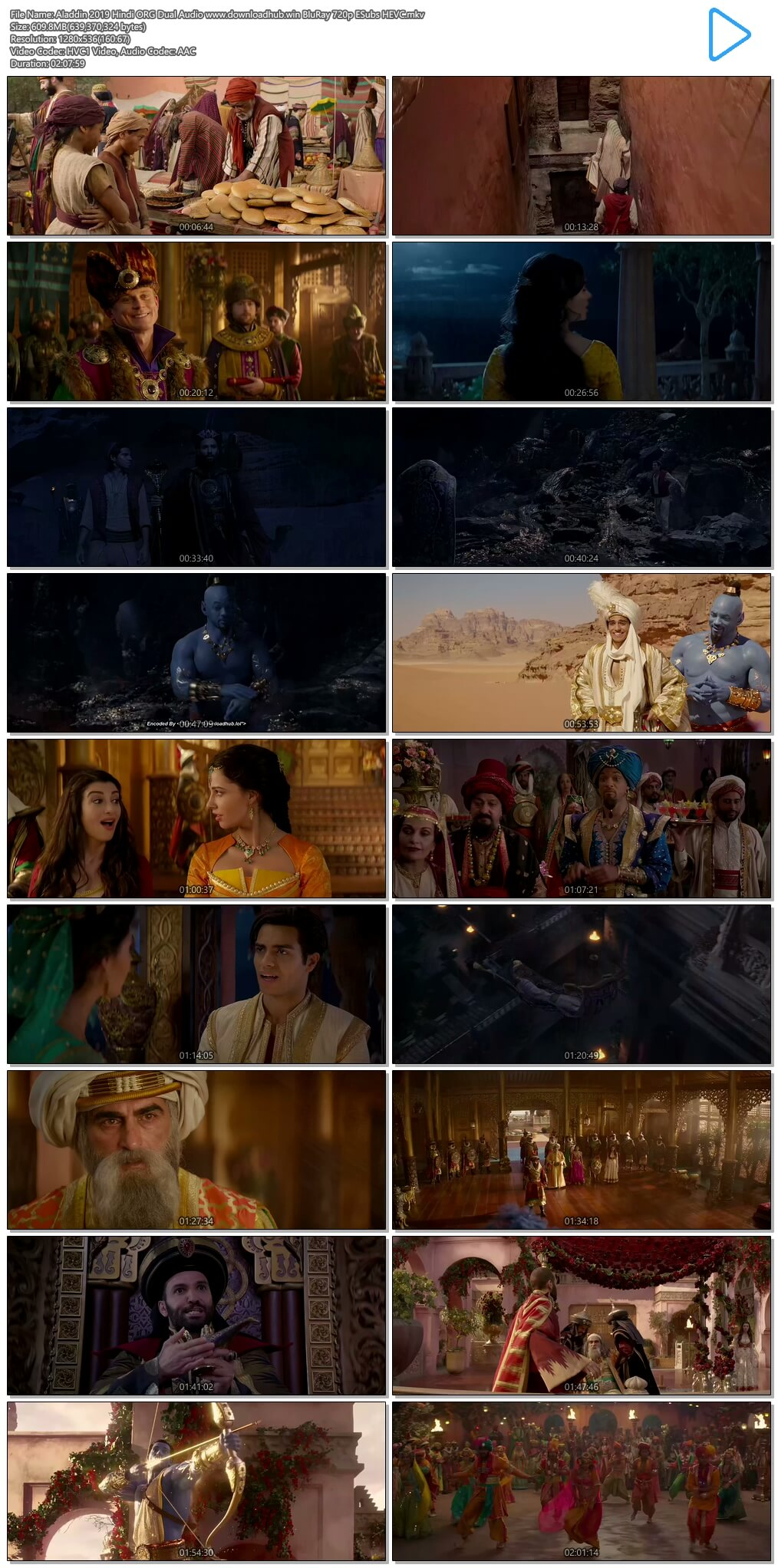 Aladdin 2019 Hindi ORG Dual Audio 600MB BluRay 720p ESubs HEVC