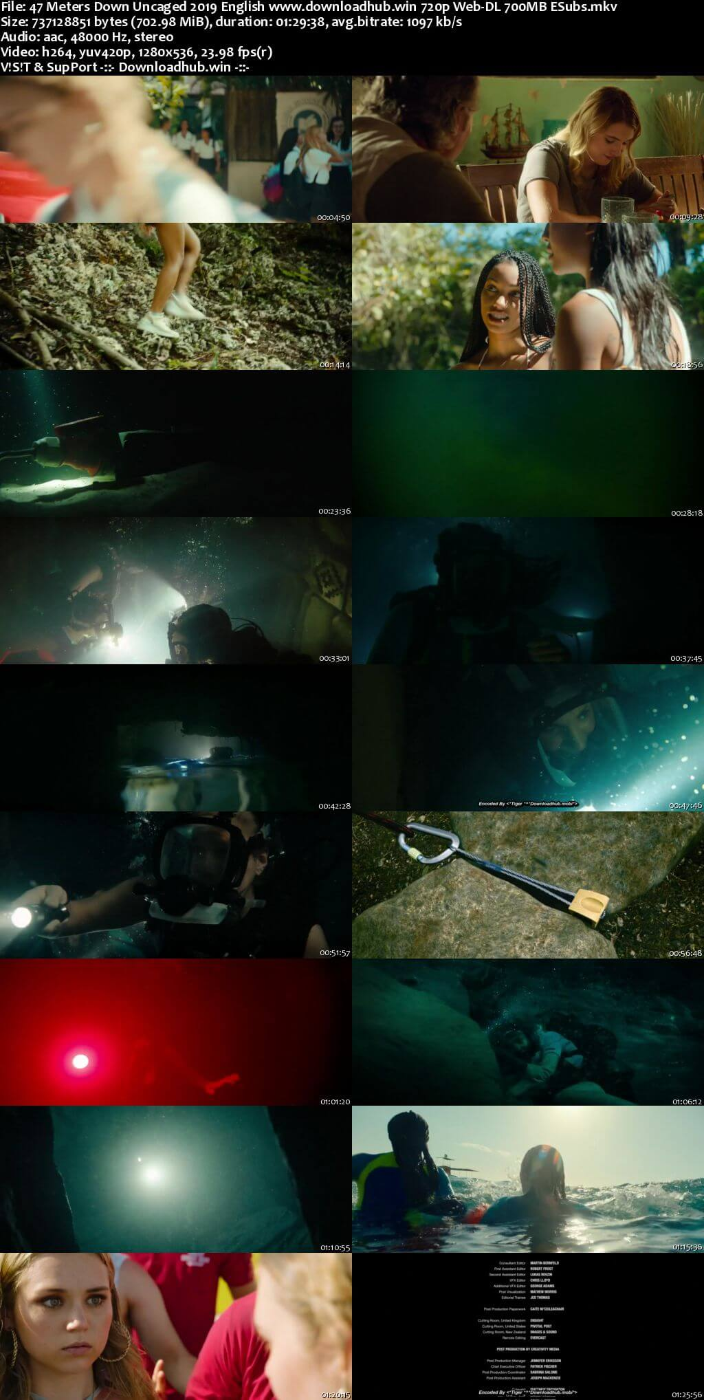47 Meters Down Uncaged 2019 English 720p Web-DL 700MB ESubs