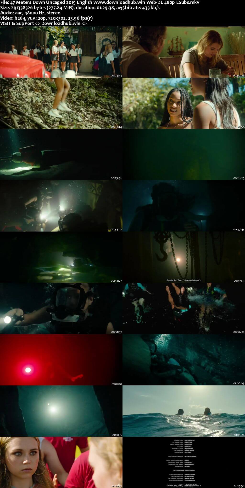 47 Meters Down Uncaged 2019 English 280MB Web-DL 480p ESubs