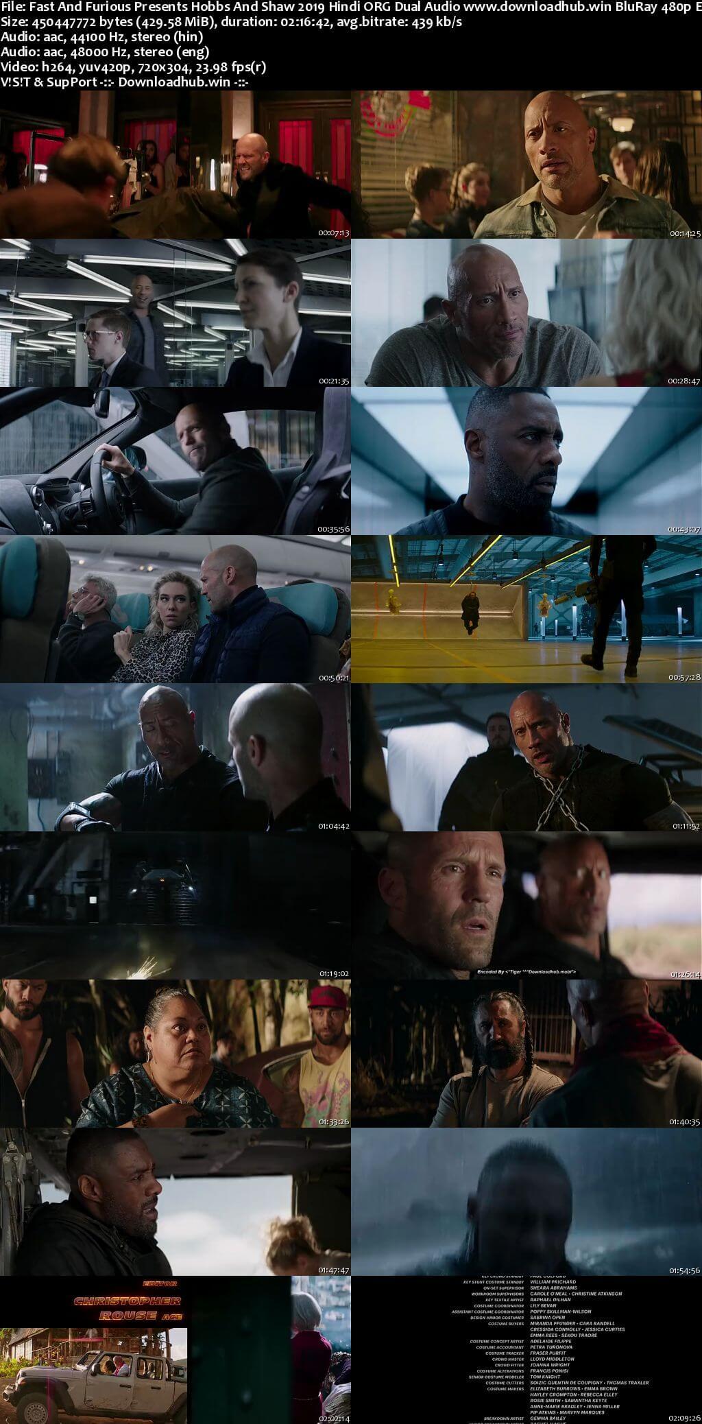 Fast And Furious Presents Hobbs And Shaw 2019 Hindi ORG Dual Audio 400MB BluRay 480p ESubs