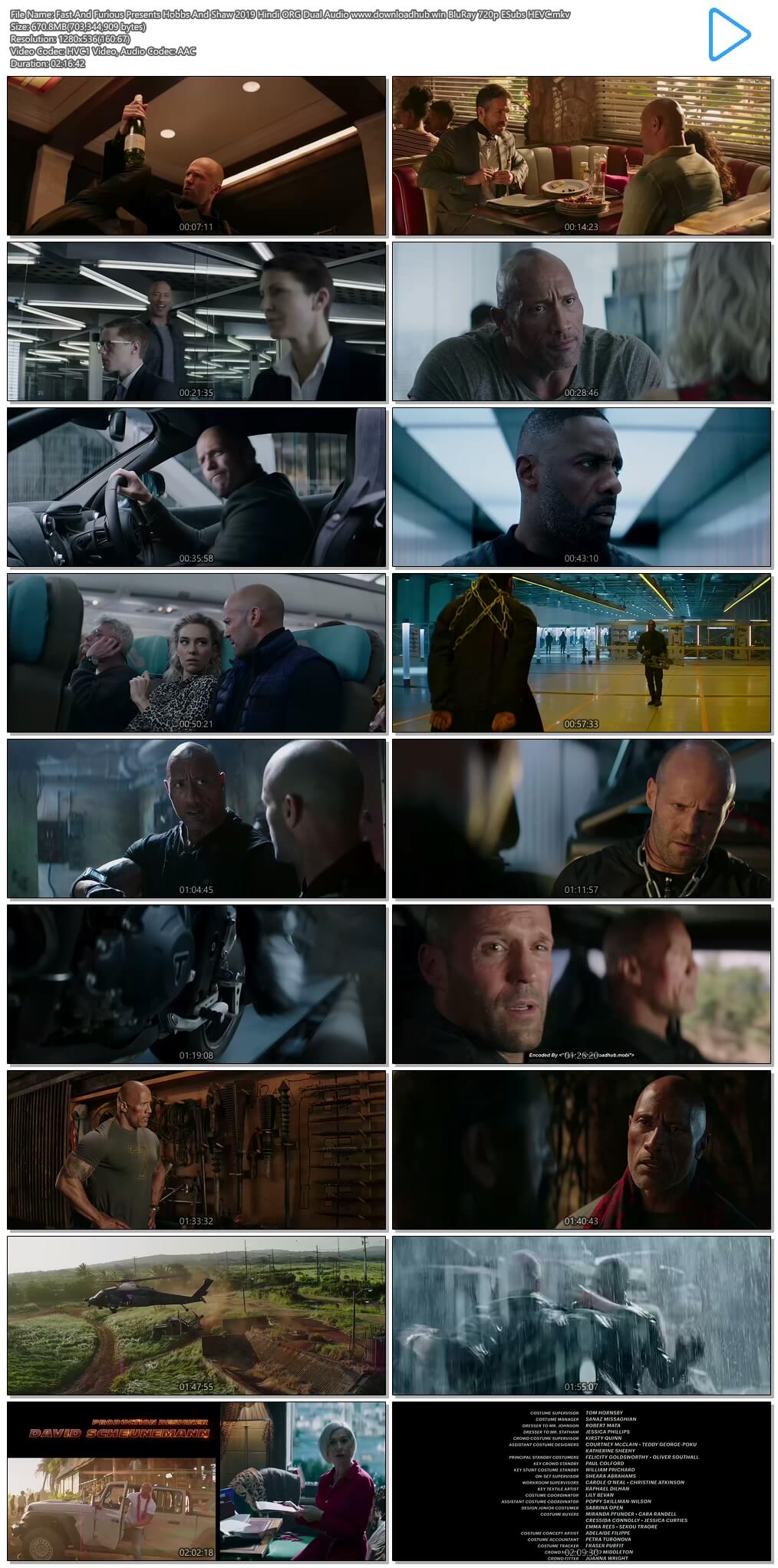 Fast And Furious Presents Hobbs And Shaw 2019 Hindi ORG Dual Audio 650MB BluRay 720p ESubs HEVC