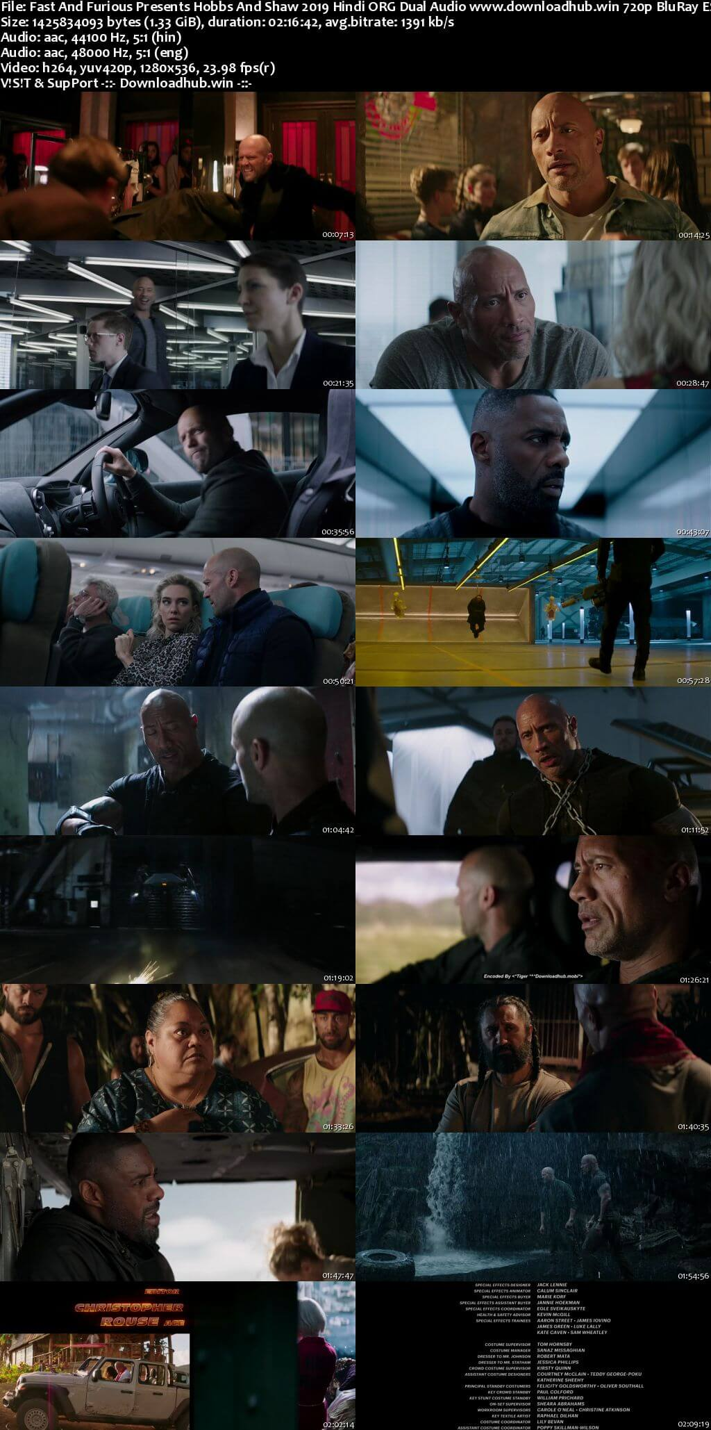 Fast And Furious Presents Hobbs And Shaw 2019 Hindi ORG Dual Audio 720p BluRay ESubs