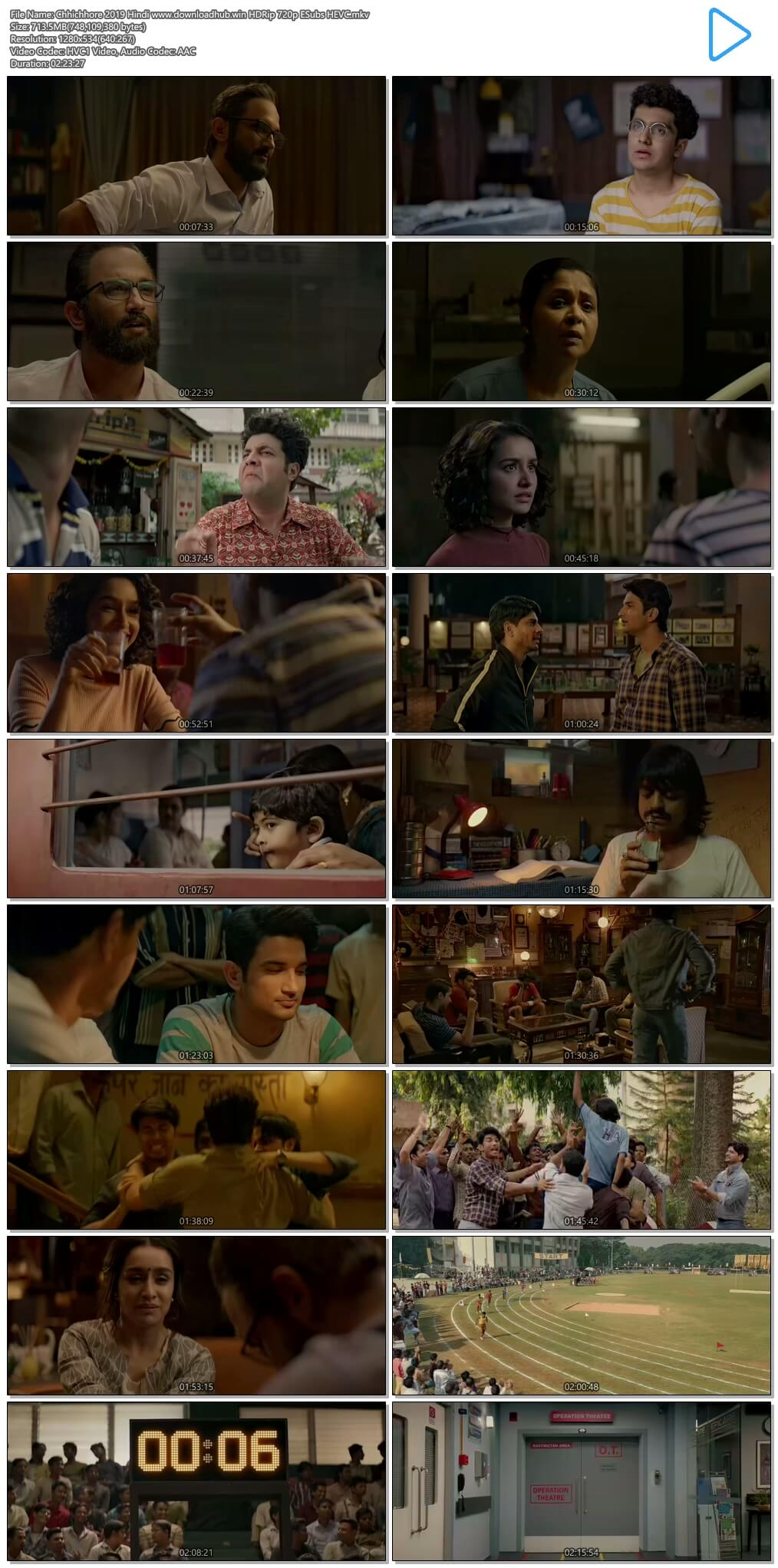 Chhichhore 2019 Hindi 700MB HDRip 720p ESubs HEVC