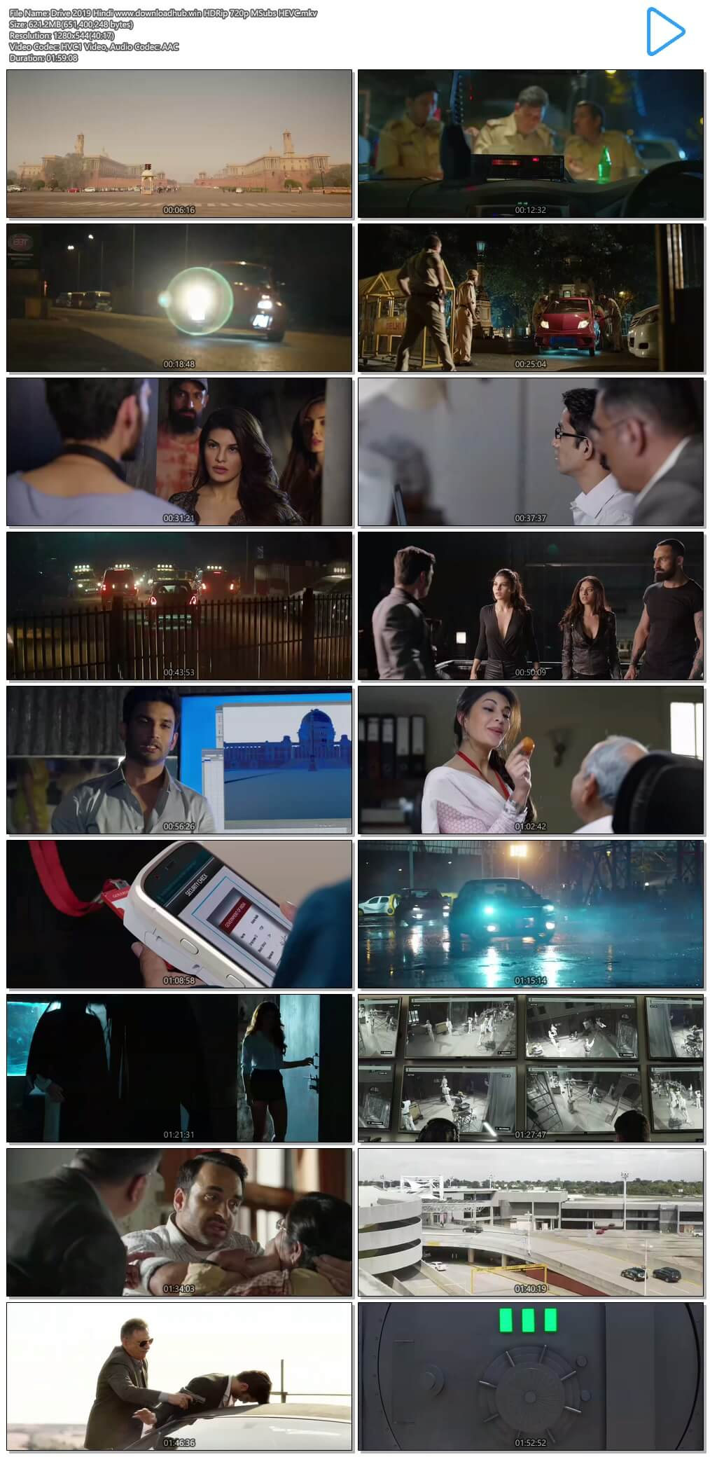 Drive 2019 Hindi 600MB HDRip 720p MSubs HEVC