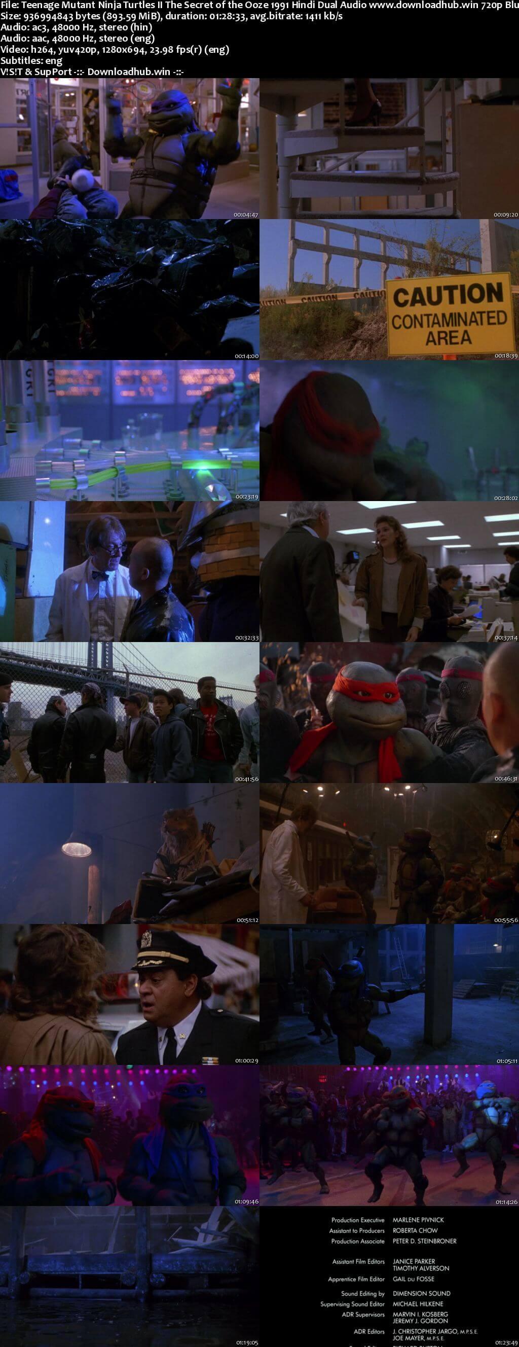 Teenage Mutant Ninja Turtles II The Secret of the Ooze 1991 Hindi Dual Audio 720p BluRay ESubs