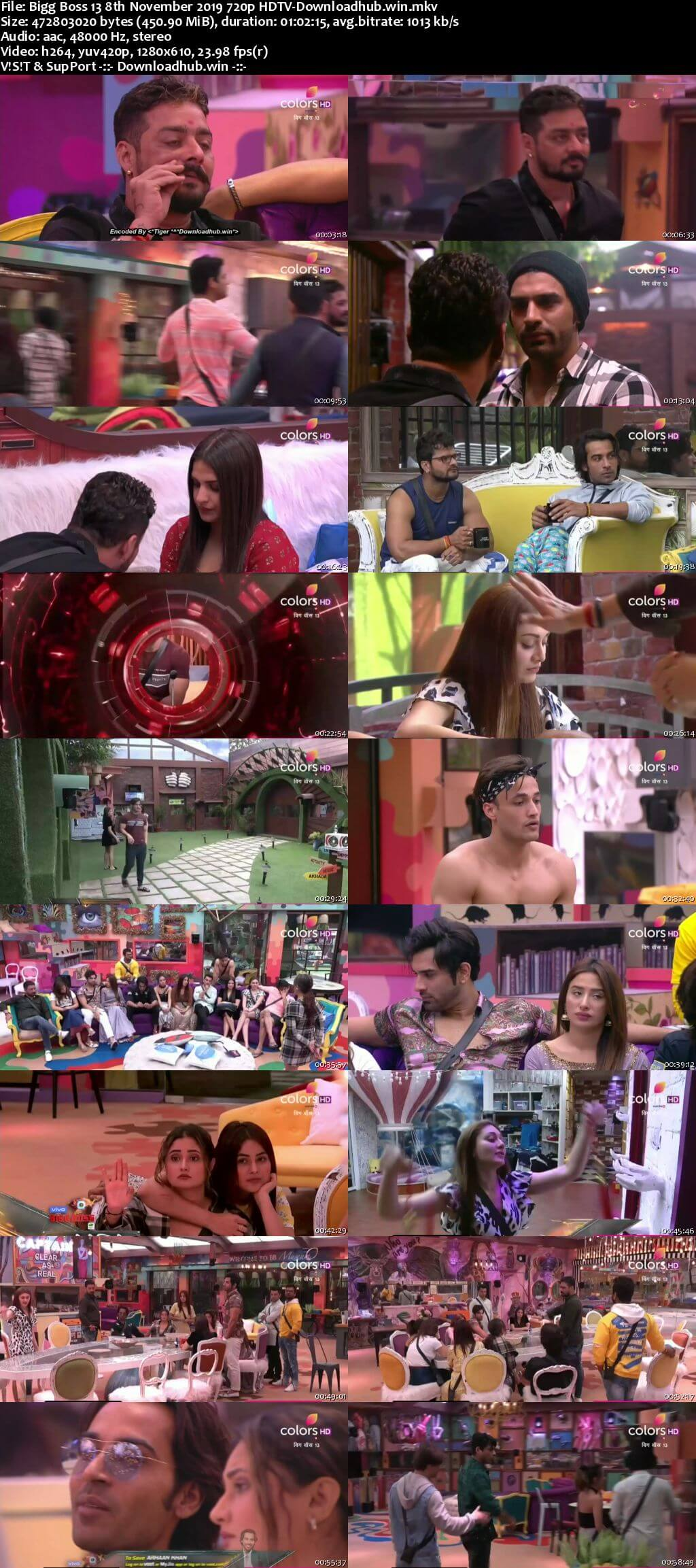 Bigg Boss 13 08 November 2019 Episode 39 HDTV 720p 480p