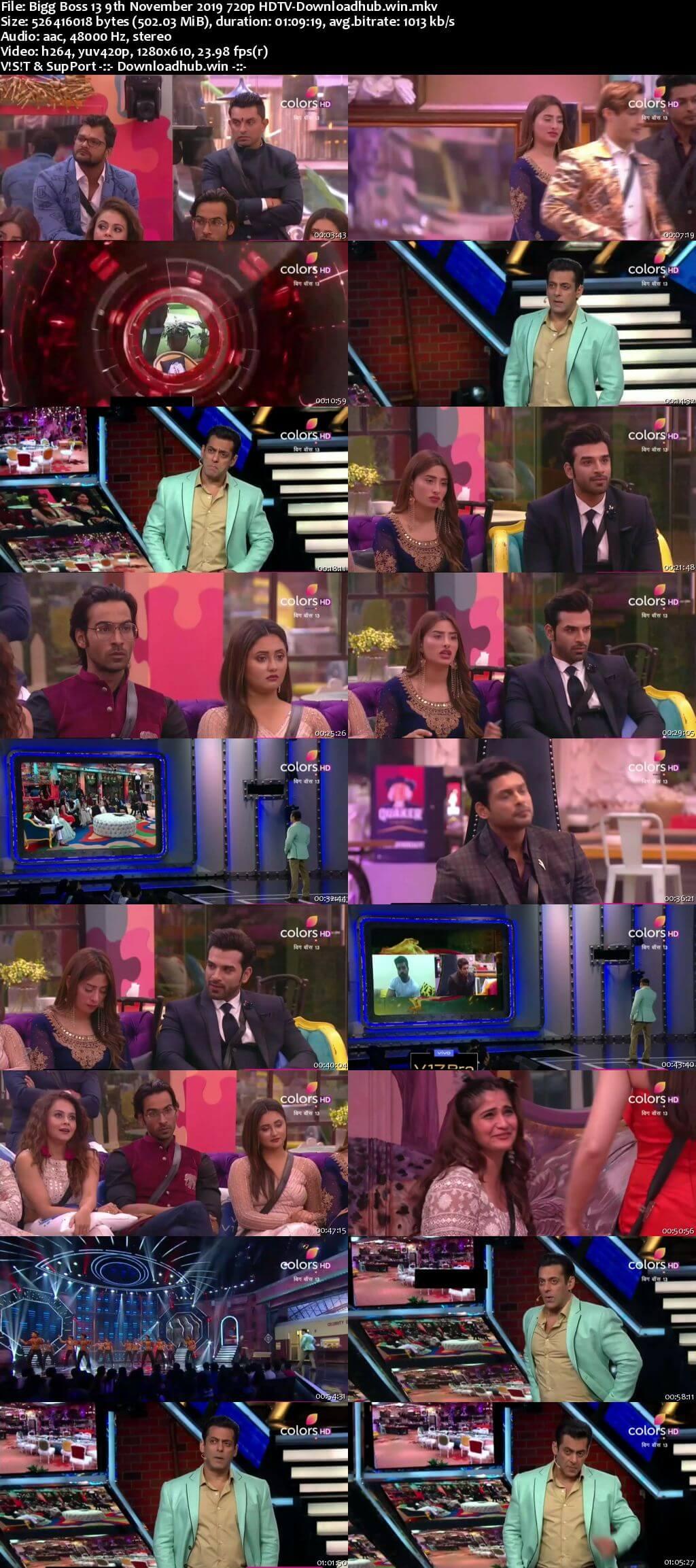 Bigg Boss 13 09 November 2019 Episode 40 HDTV 720p 480p