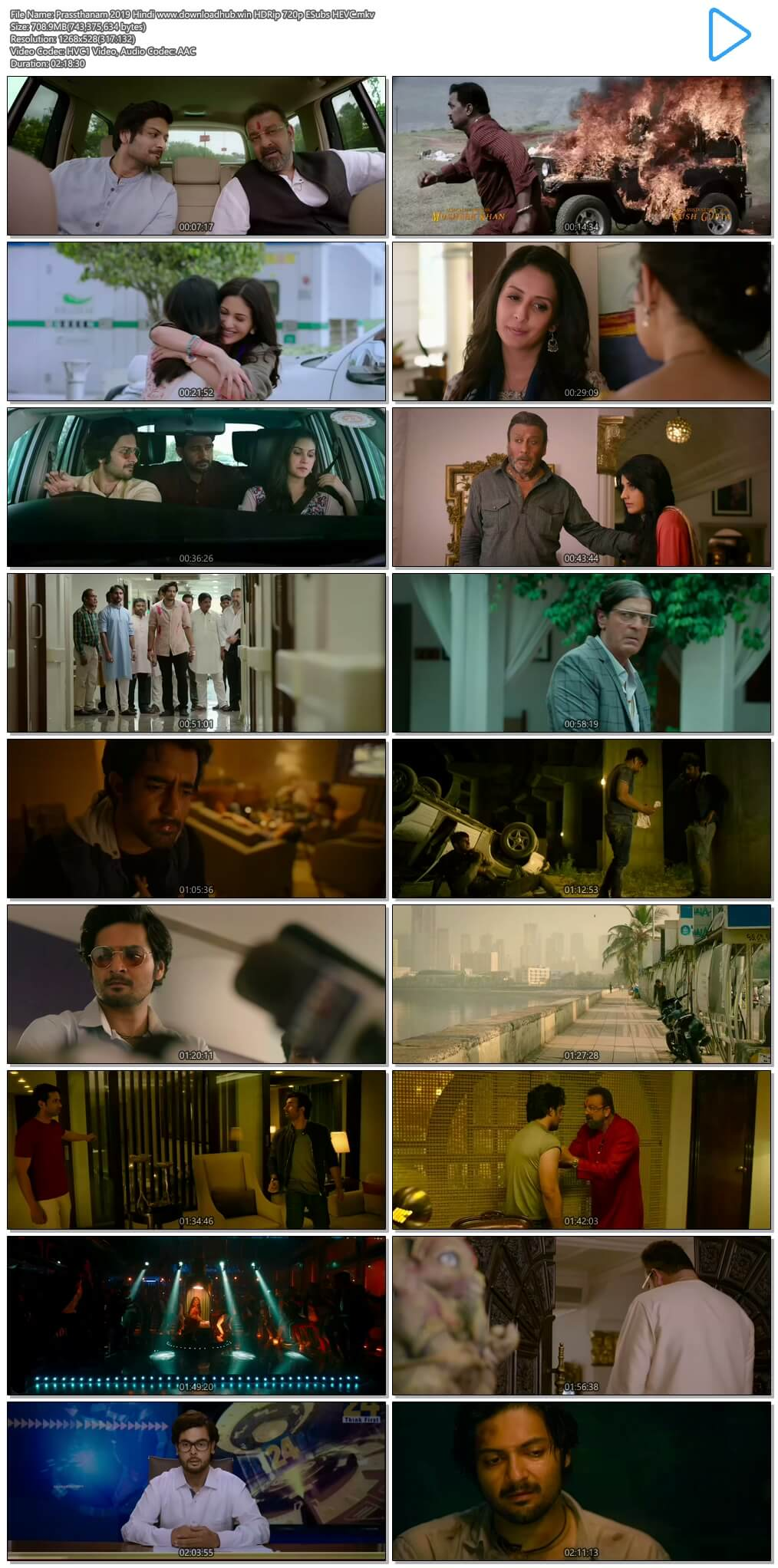 Prassthanam 2019 720p Hindi 700MB HDRip ESubs HEVC Download 1