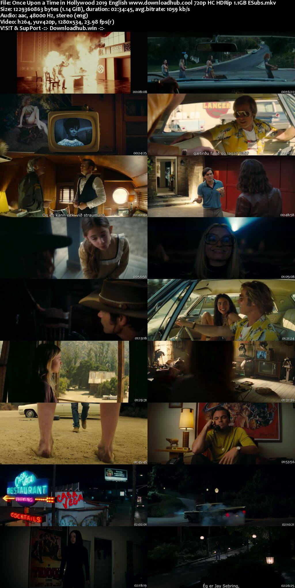 Once Upon a Time in Hollywood 2019 English 720p HC HDRip 1.1GB ESubs