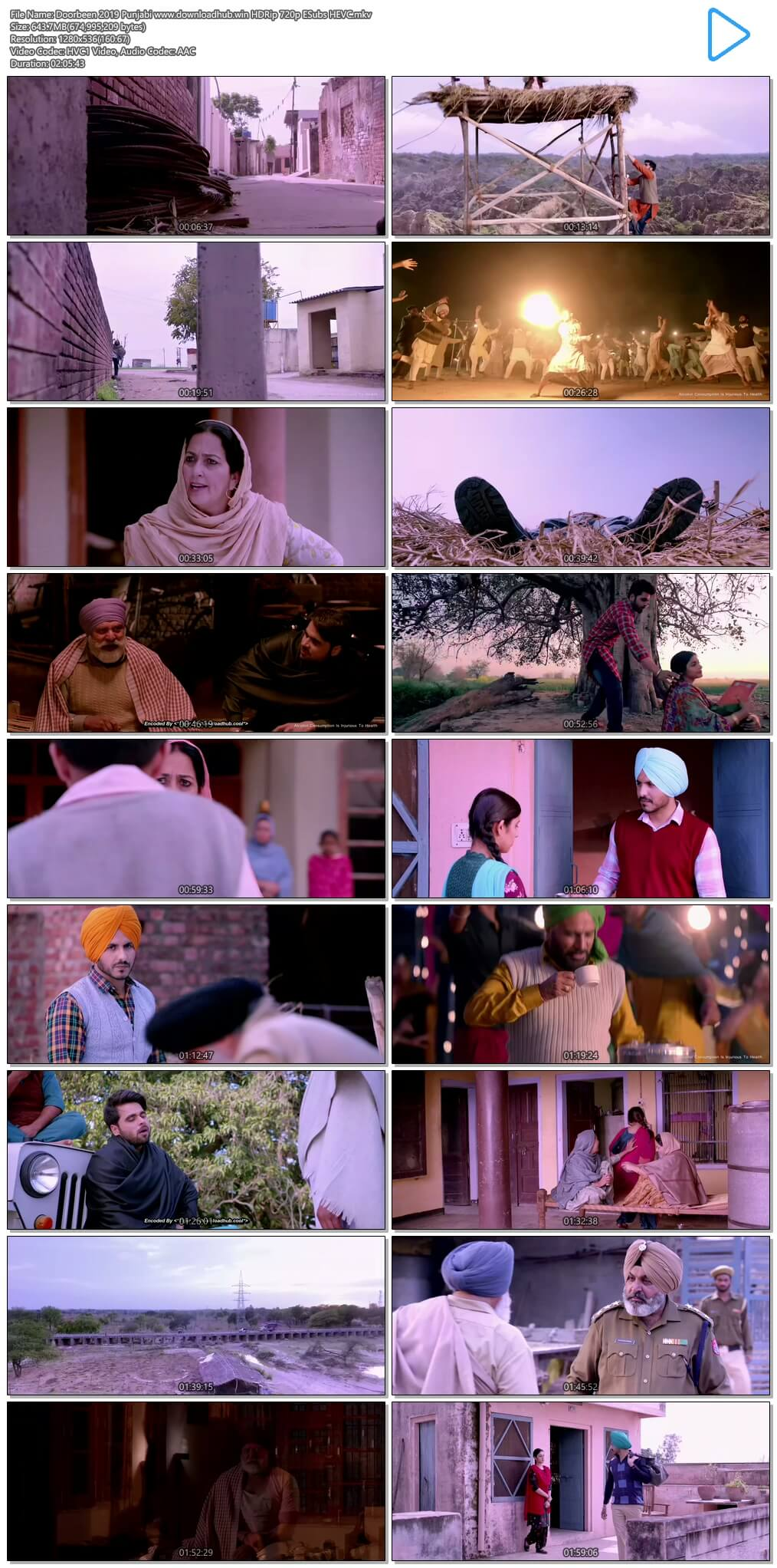 Doorbeen 2019 Punjabi 600MB HDRip 720p ESubs HEVC