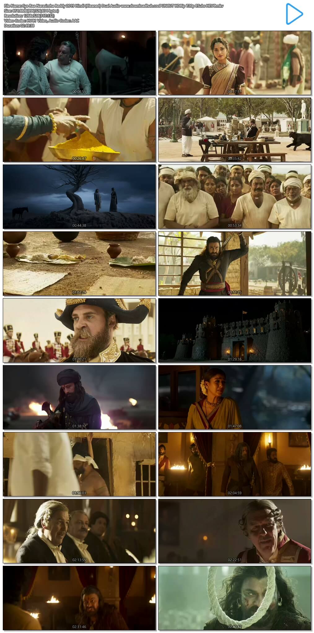 Sye Raa Narasimha Reddy 2019 Hindi (Cleaned) Dual Audio 850MB UNCUT HDRip 720p ESubs HEVC