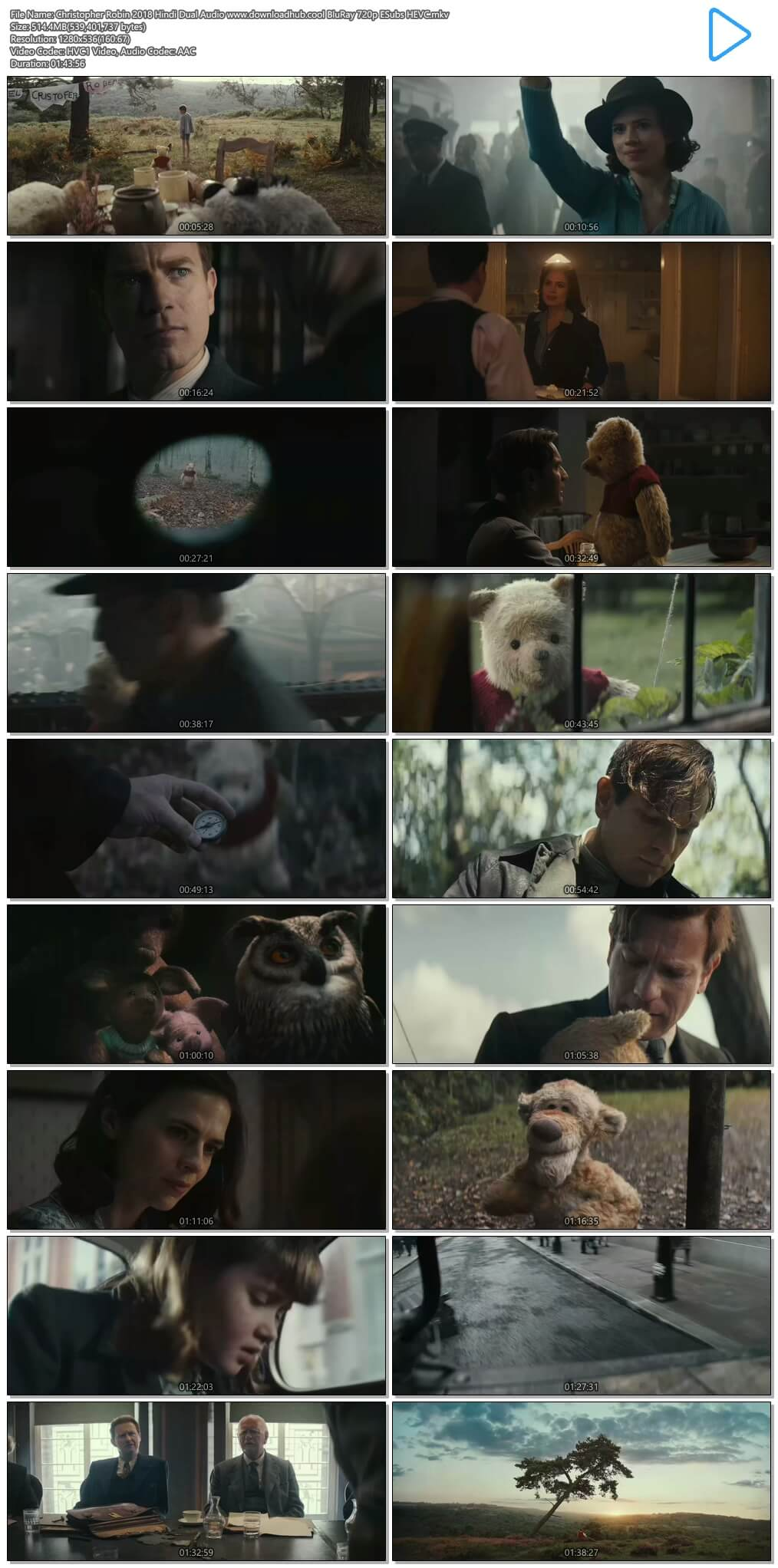 Christopher Robin 2018 Hindi Dual Audio 500MB BluRay 720p ESubs HEVC