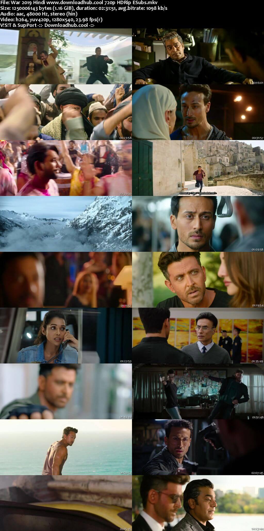 War 2019 Hindi 720p HDRip ESubs