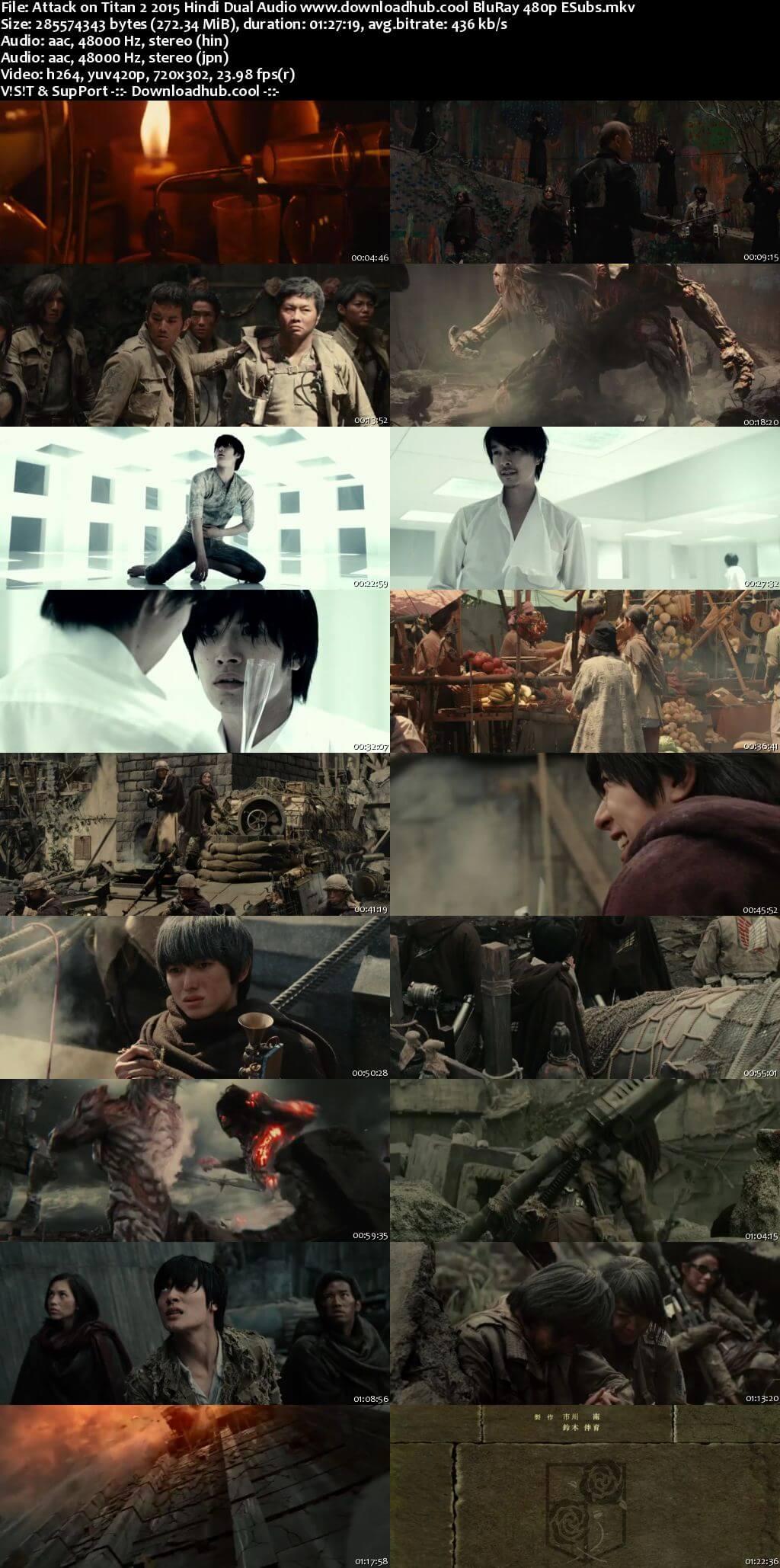 Attack on Titan 2 2015 Hindi Dual Audio 250MB BluRay 480p ESubs