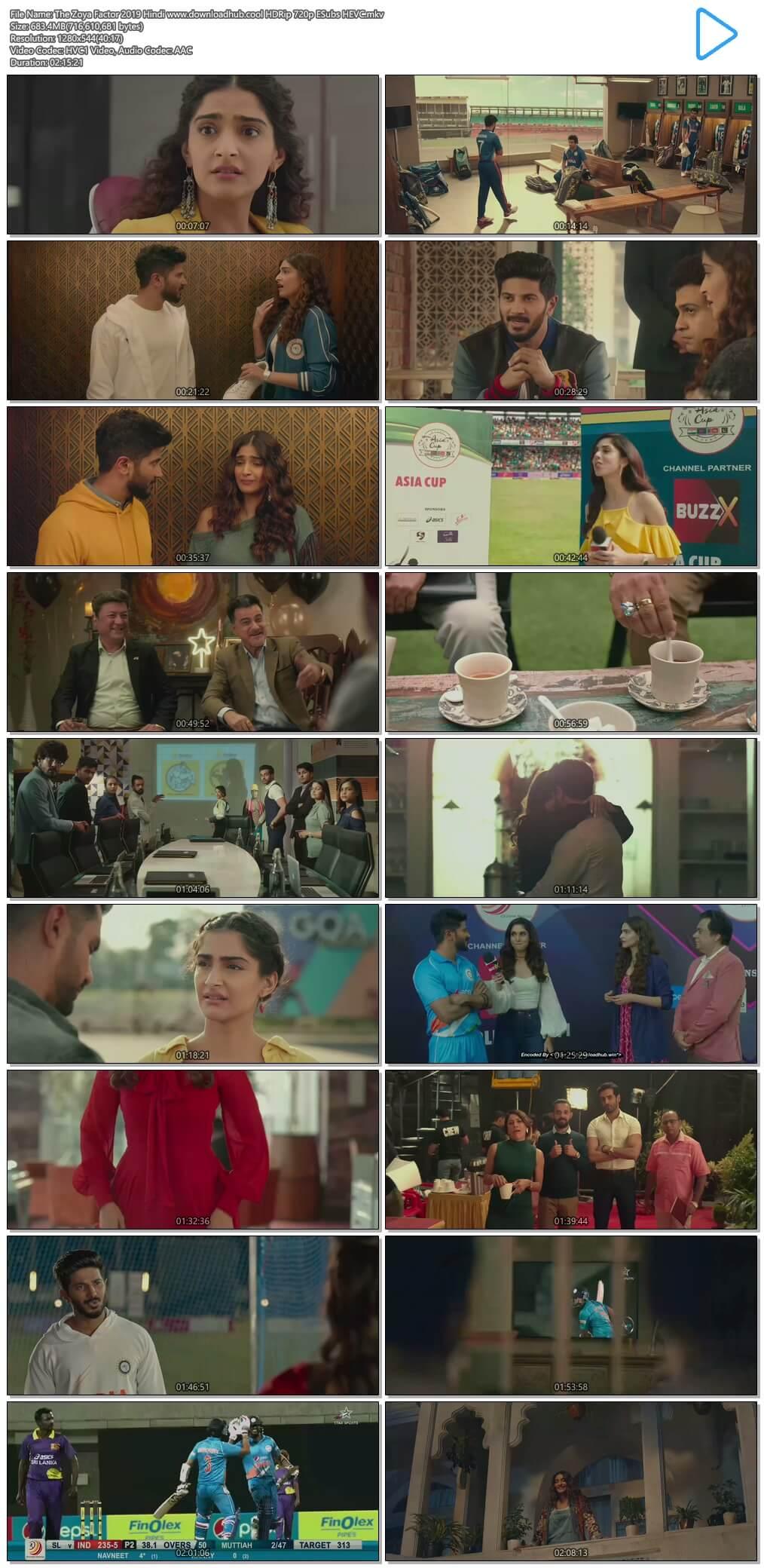 The Zoya Factor 2019 Hindi 650MB HDRip 720p ESubs HEVC