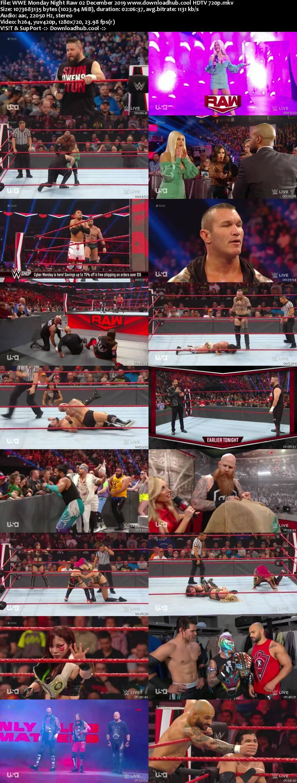 WWE Monday Night Raw 2nd December 2019 720p 500MB HDTVRip 480p