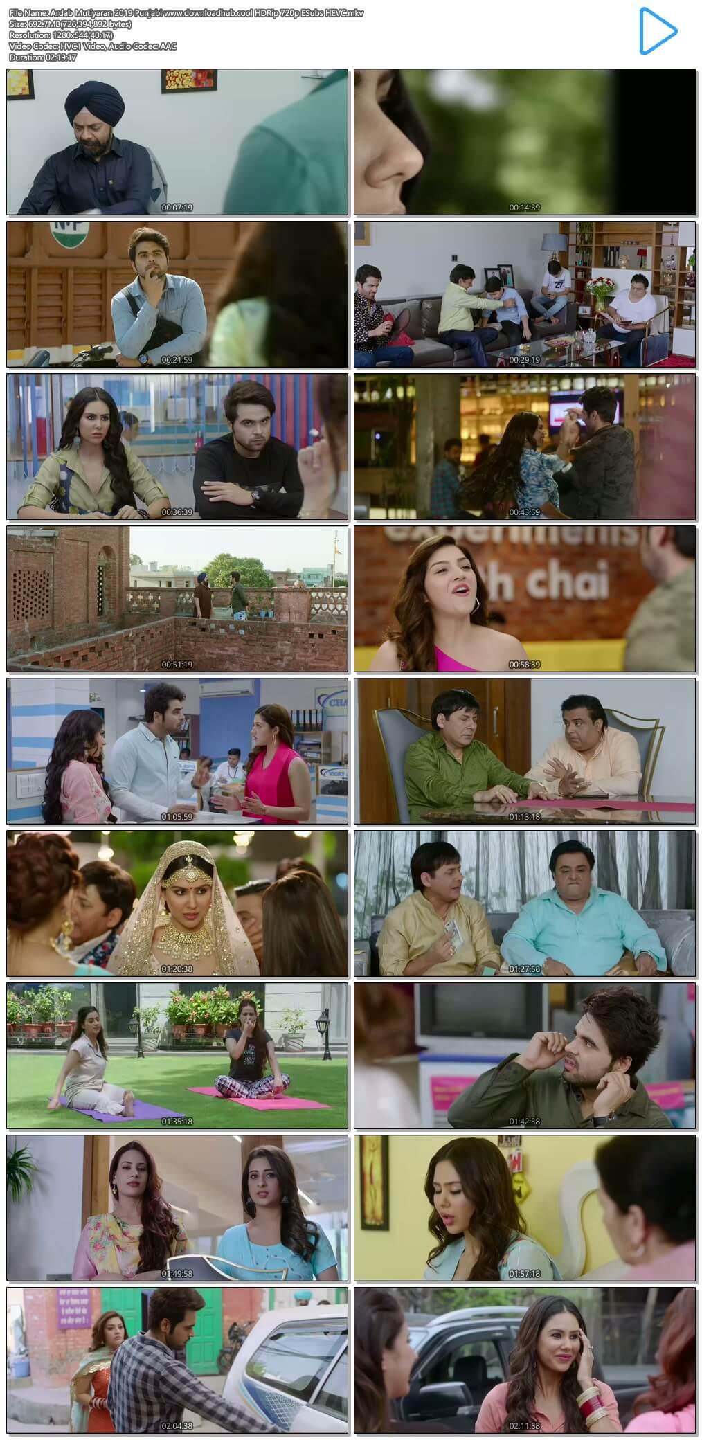 Ardab Mutiyaran 2019 Punjabi 700MB HDRip 720p ESubs HEVC