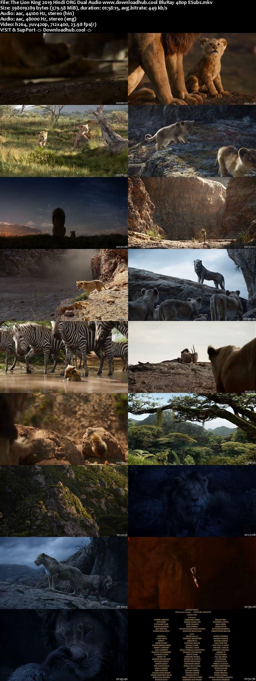 The Lion King 2019 Hindi ORG Dual Audio 350MB BluRay 480p ESubs