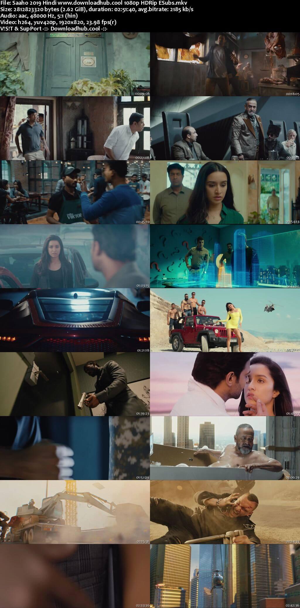 Saaho 2019 Hindi 1080p HDRip ESubs
