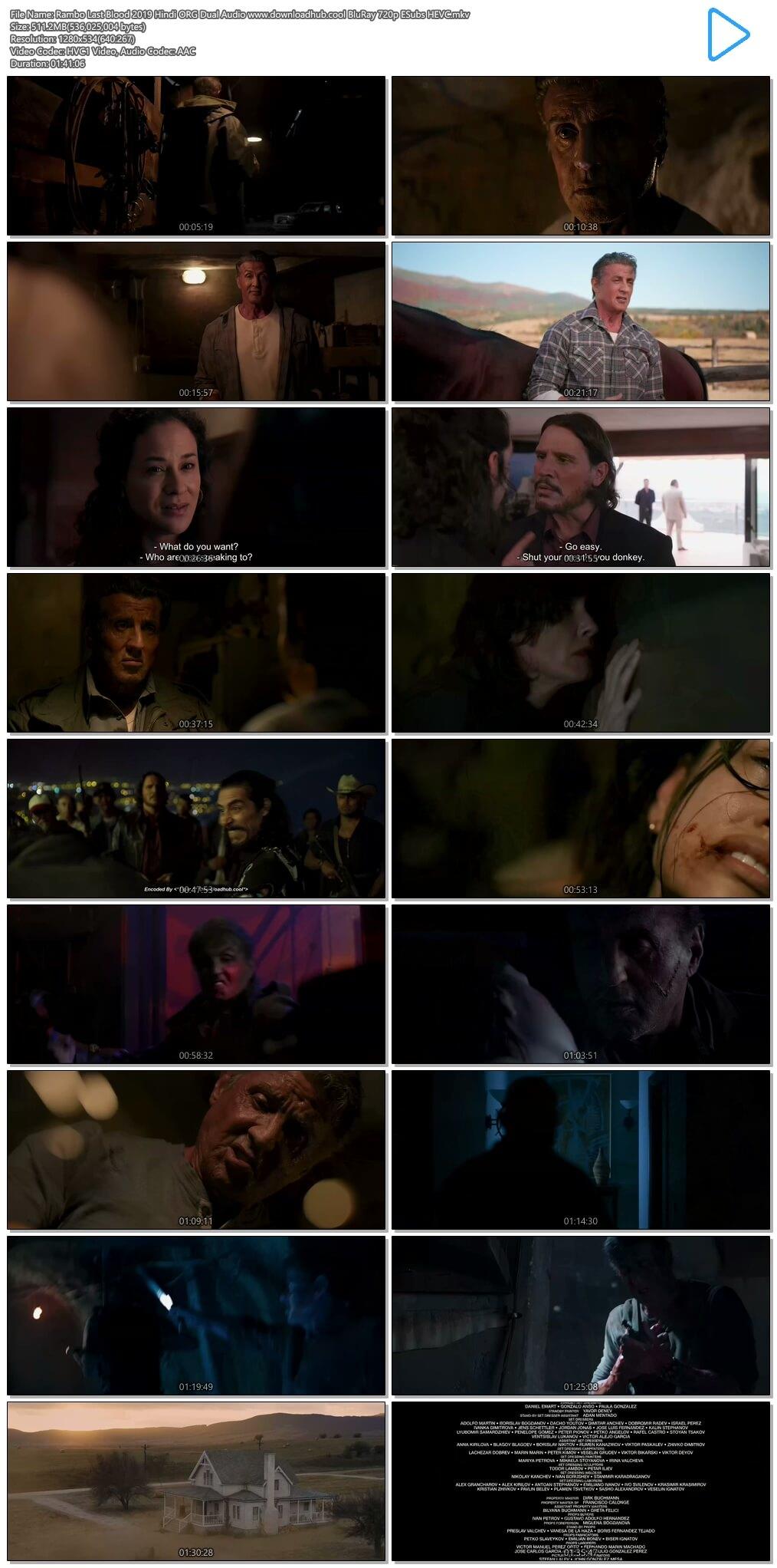 Rambo Last Blood 2019 Hindi ORG Dual Audio 500MB BluRay 720p ESubs HEVC