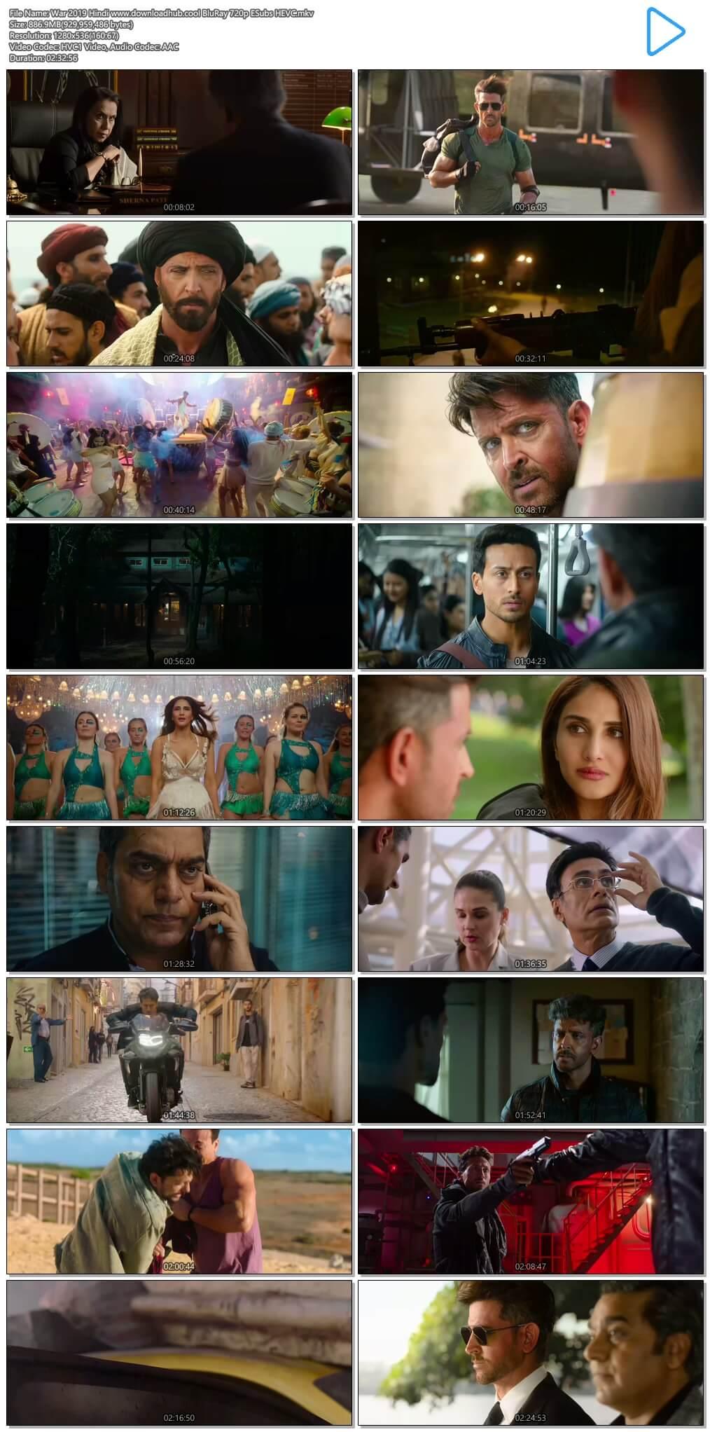 War 2019 Hindi 850MB BluRay 720p ESubs HEVC