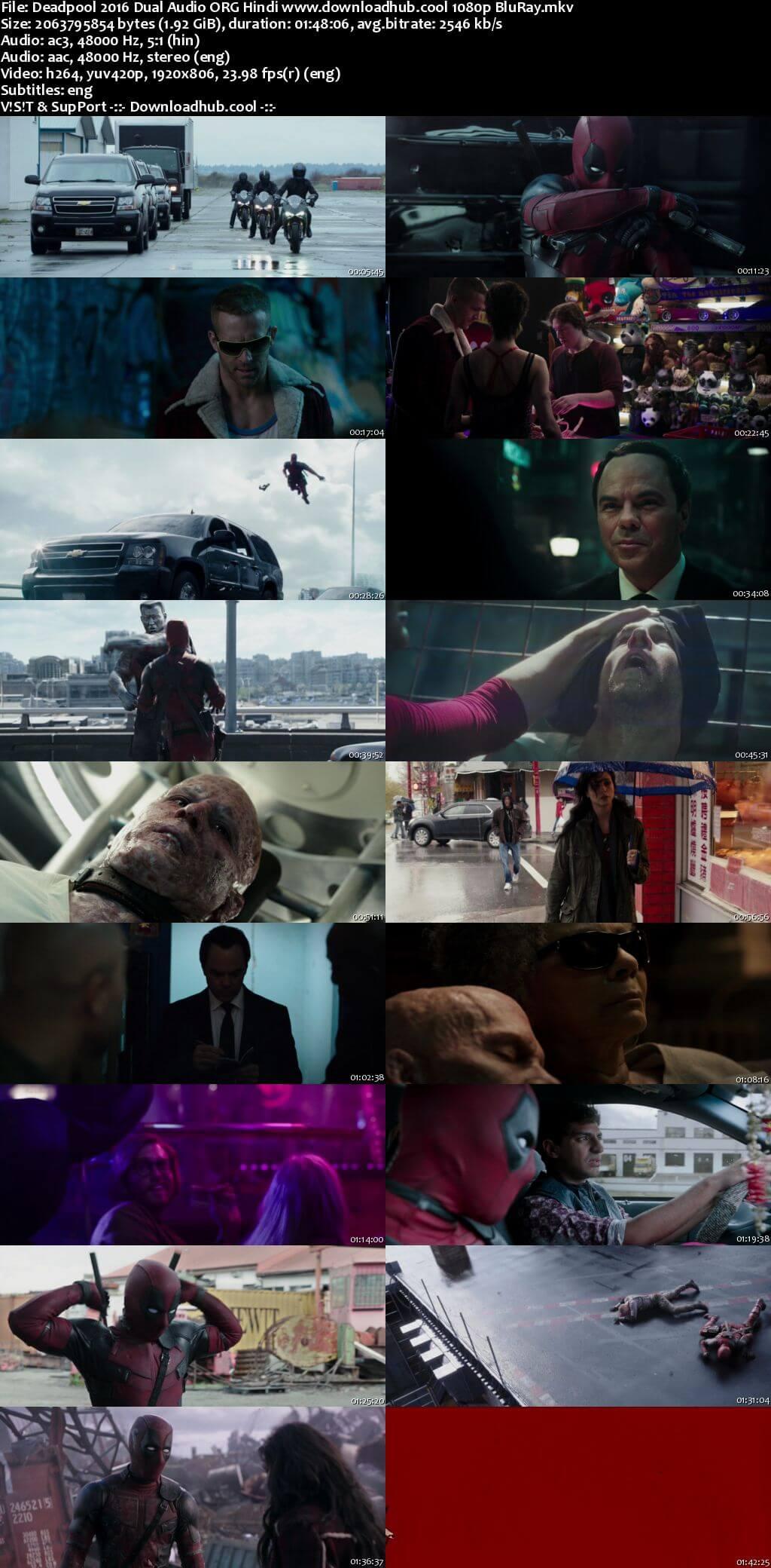 Deadpool 2016 Hindi ORG Dual Audio 1080p BluRay ESubs