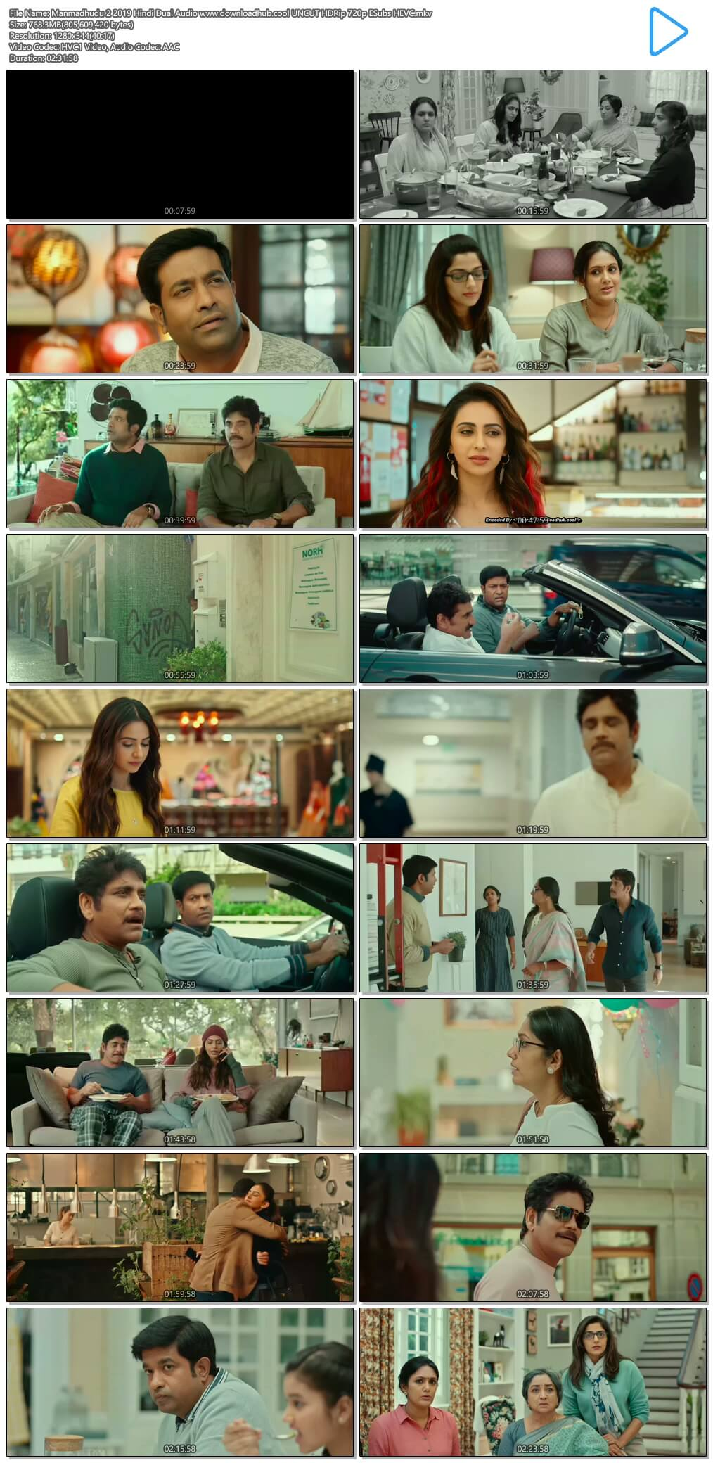 Manmadhudu 2 2019 Hindi Dual Audio 750MB UNCUT HDRip 720p ESubs HEVC
